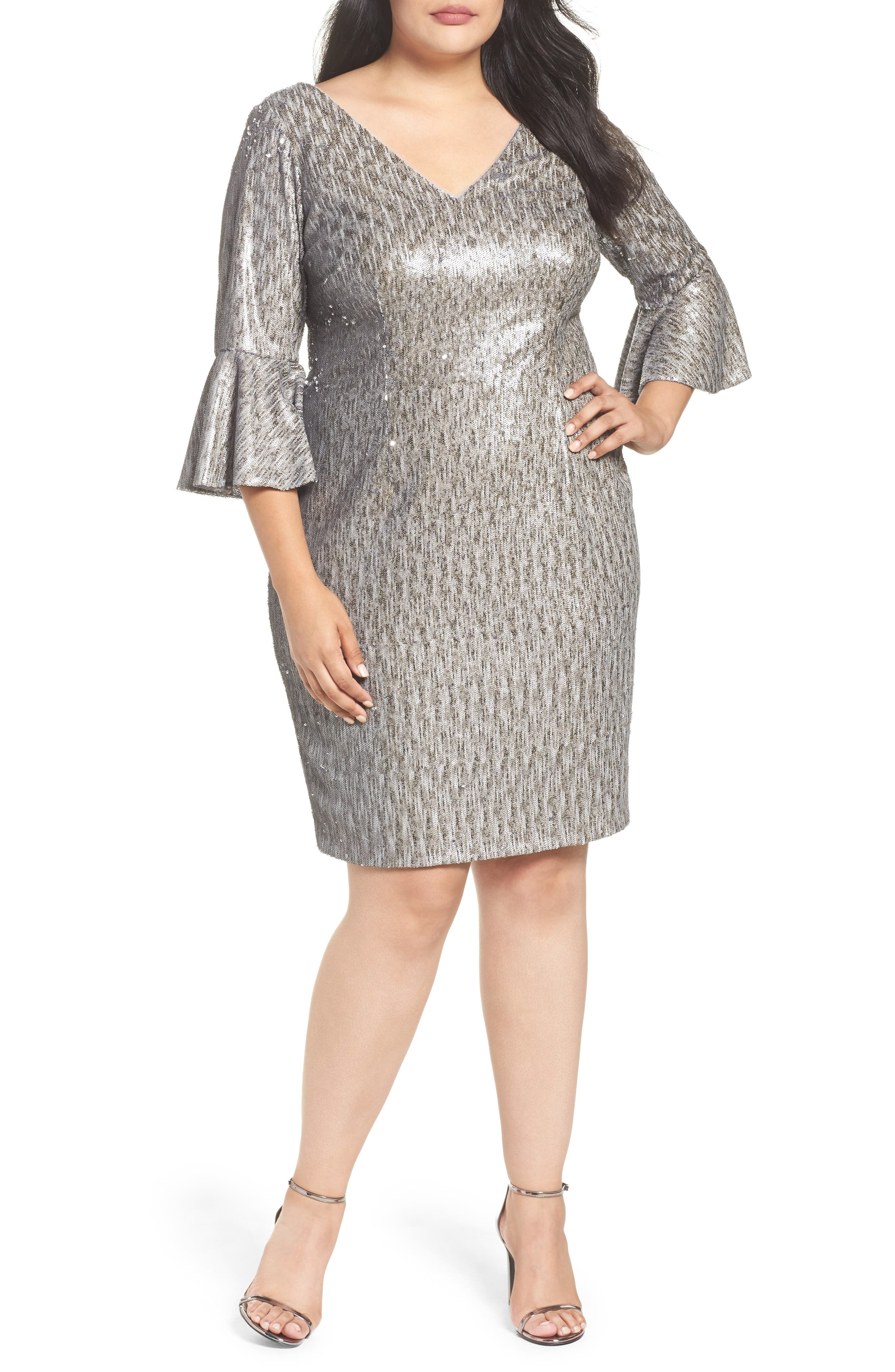 Bell Sleeve Sequin Sheath Dress,                         Main,                         color, Heather Brown