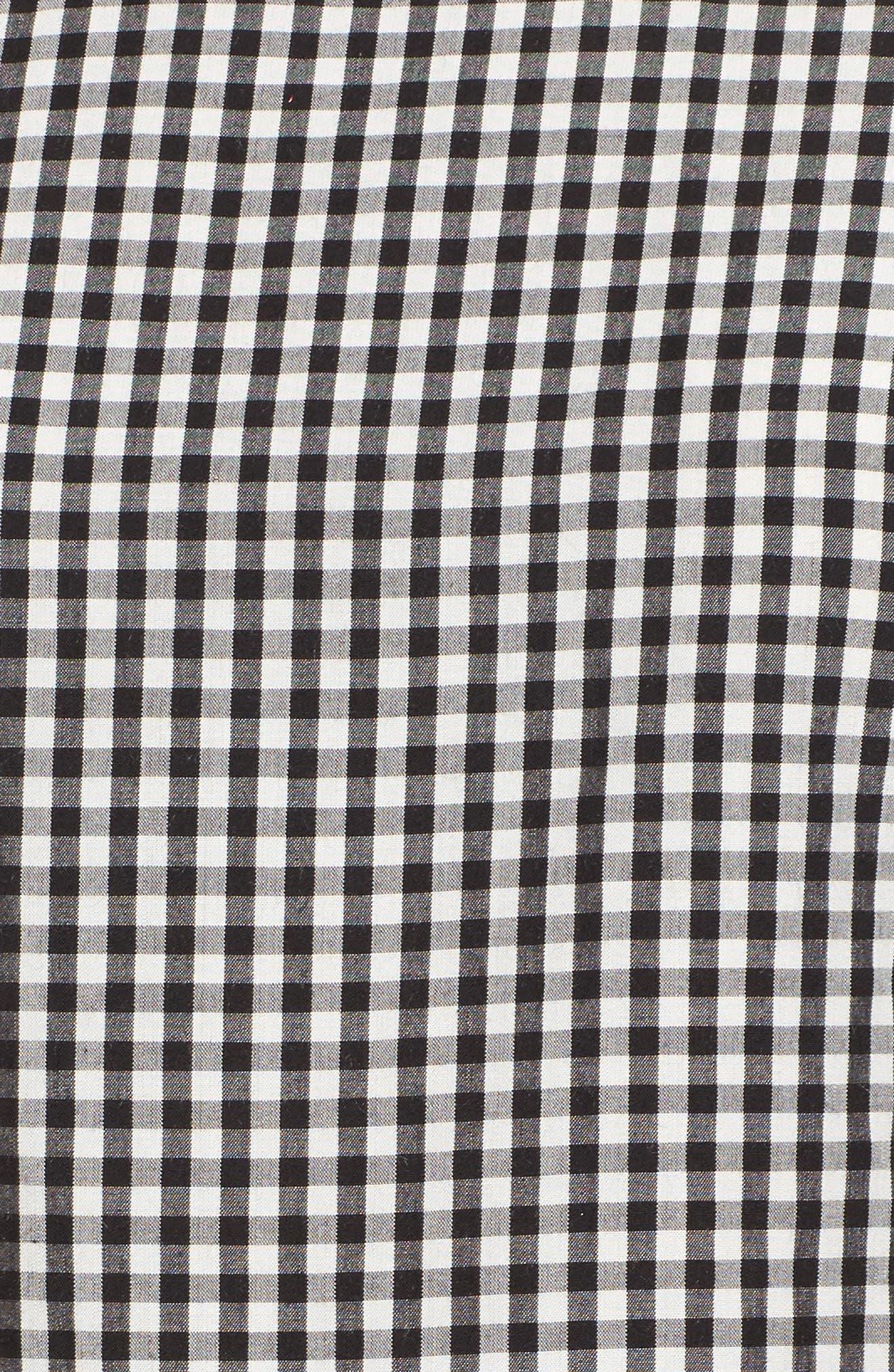 High/Low Peplum Top,                             Alternate thumbnail 5, color,                             Black- White Gingham
