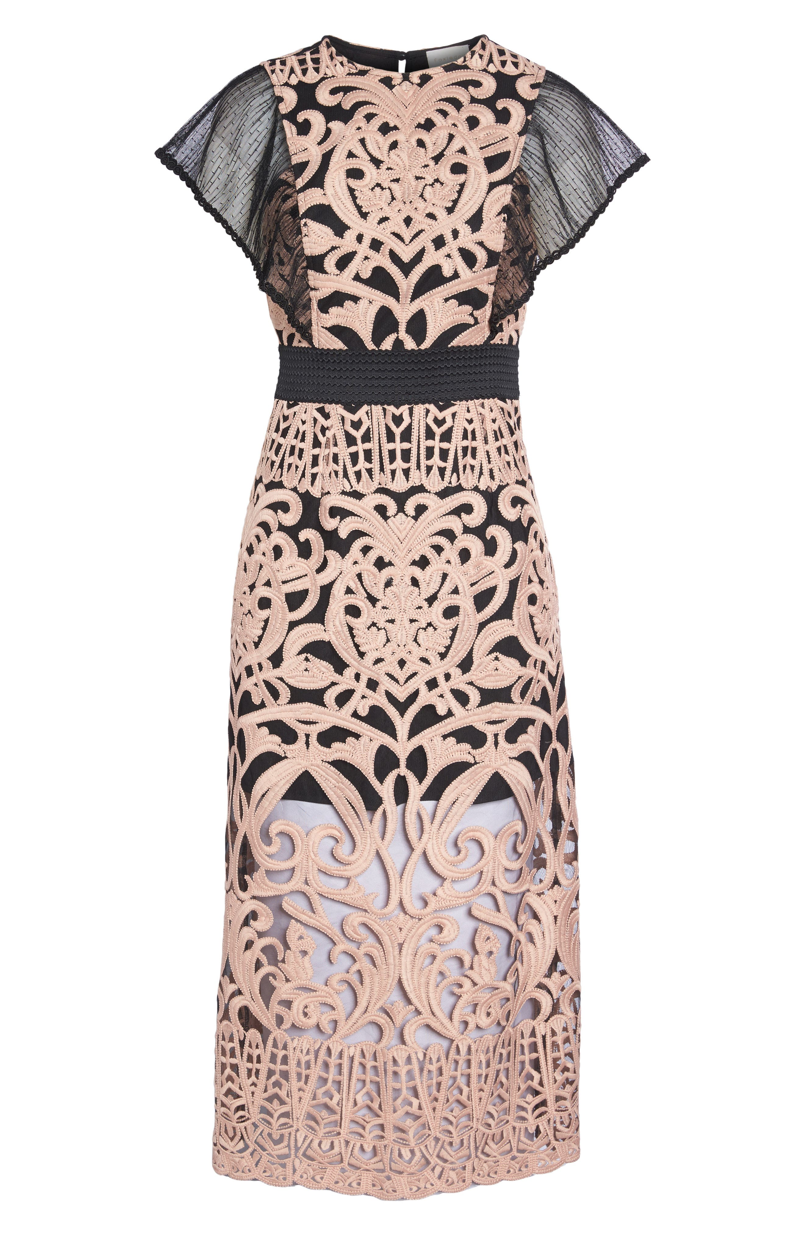 Rosabel Embroidered Midi Sheath Dress,                             Alternate thumbnail 6, color,                             Pink