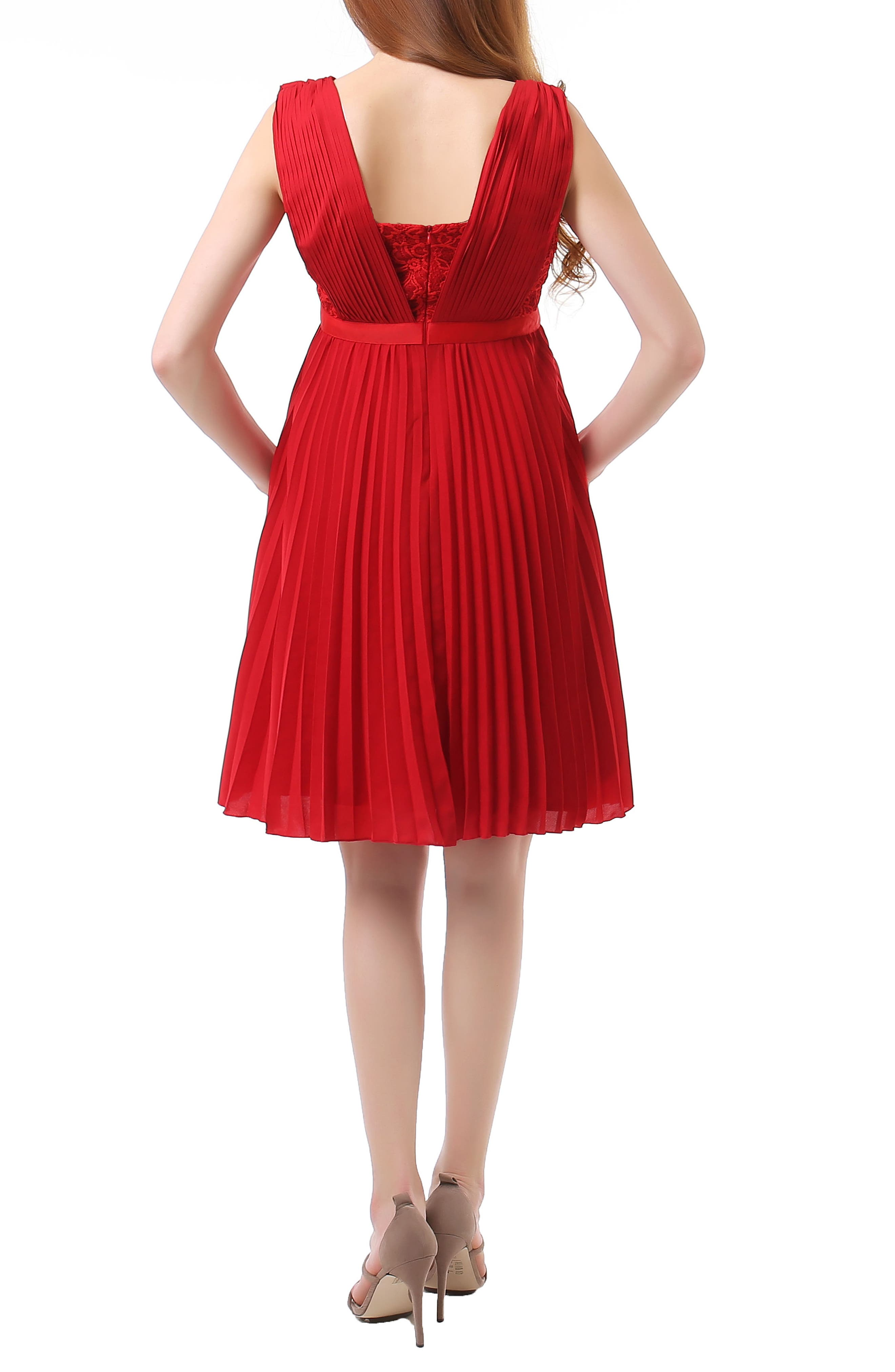 Lauren Chiffon & Lace Maternity Dress,                             Alternate thumbnail 2, color,                             Red