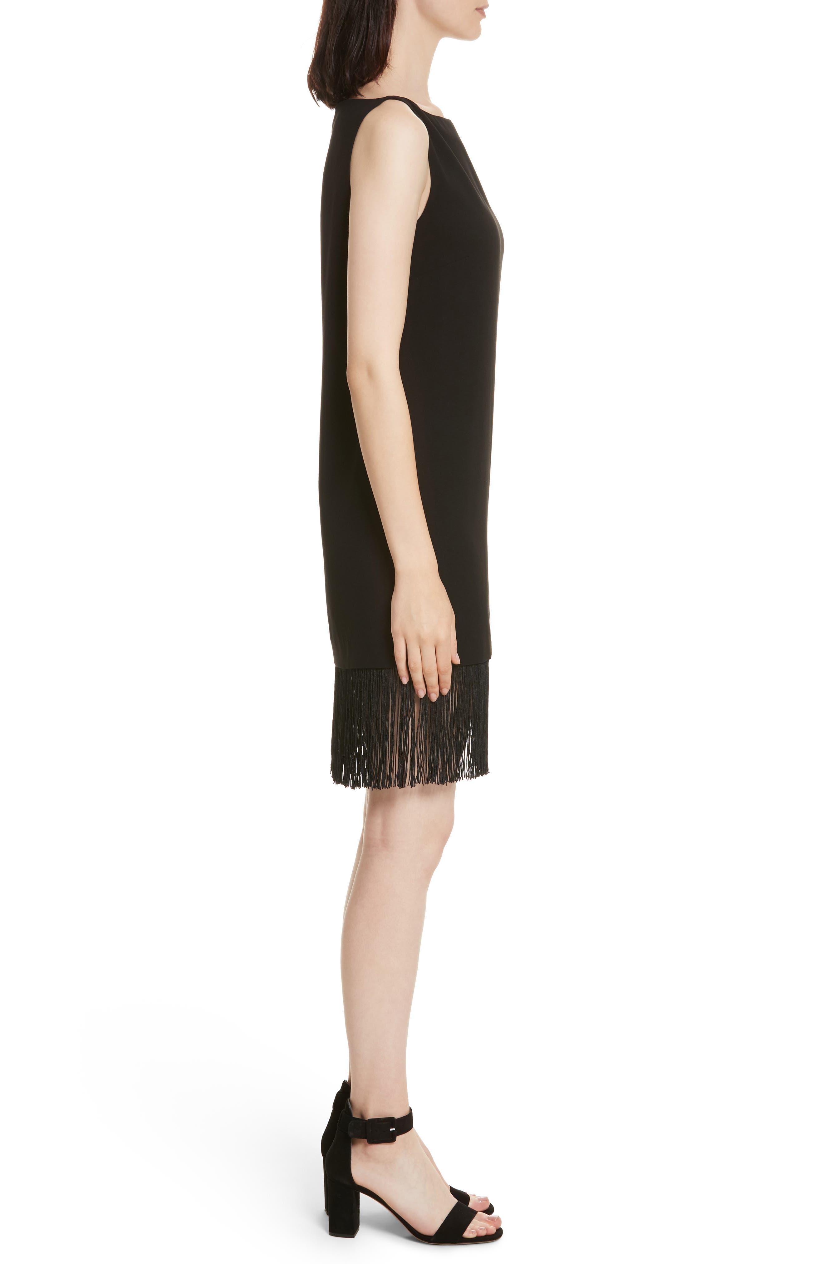 Ekon Fringe Hem Dress,                             Alternate thumbnail 3, color,                             Black