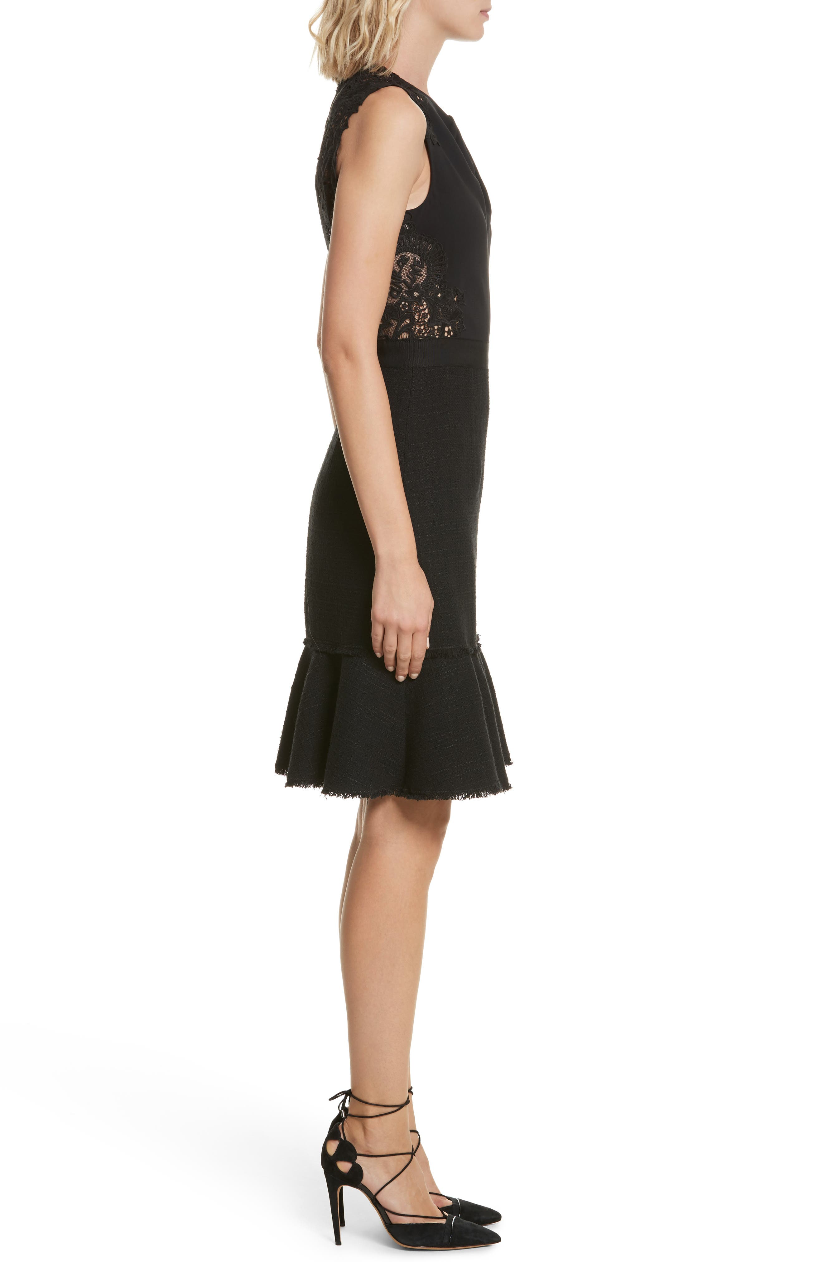Lace Back Crepe & Tweed Dress,                             Alternate thumbnail 3, color,                             Black