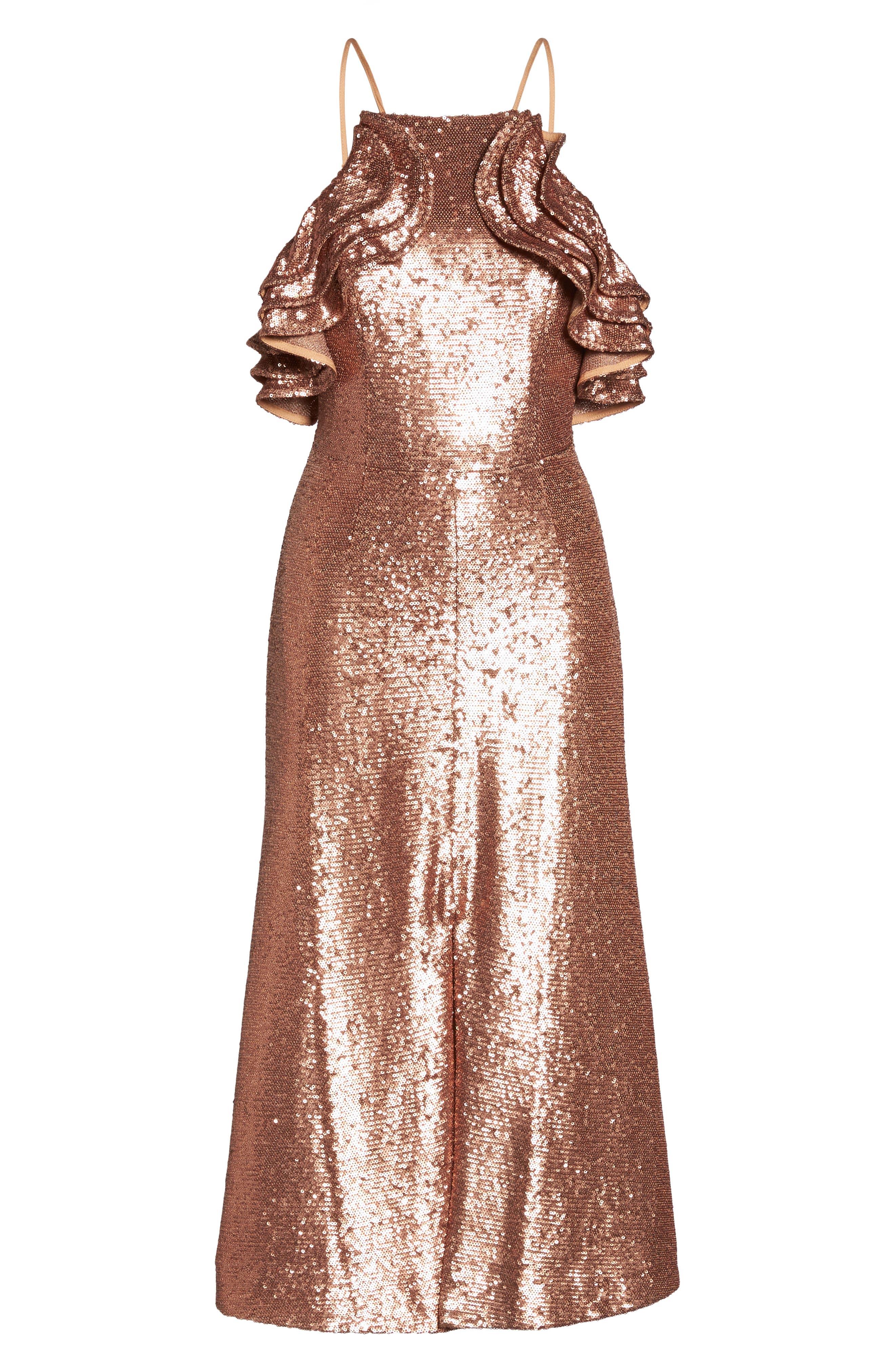 Illuminated Sequin Ruffle Midi Dress,                             Alternate thumbnail 7, color,                             Copper