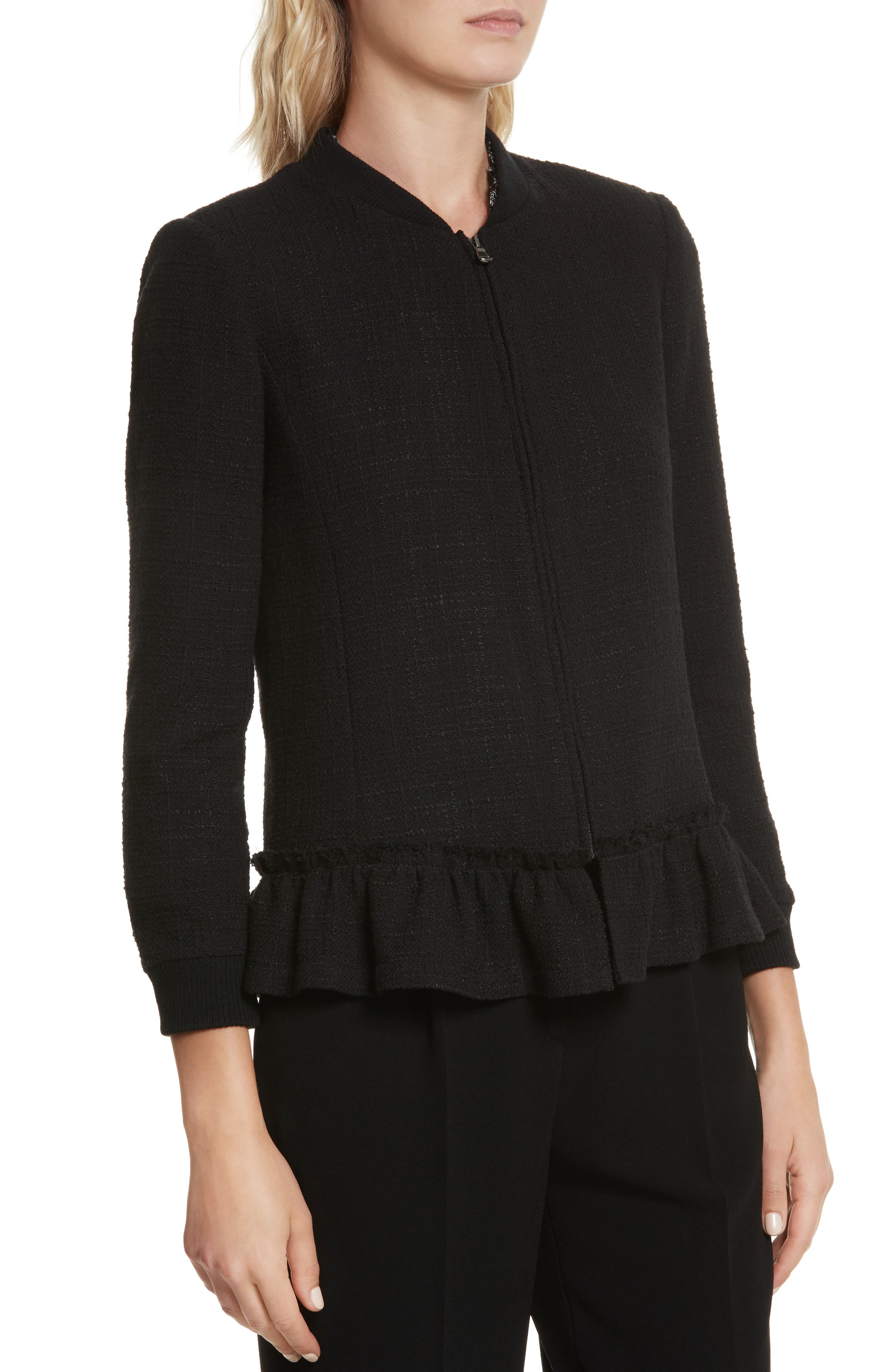 Textured Tweed Jacket,                             Alternate thumbnail 5, color,                             Black