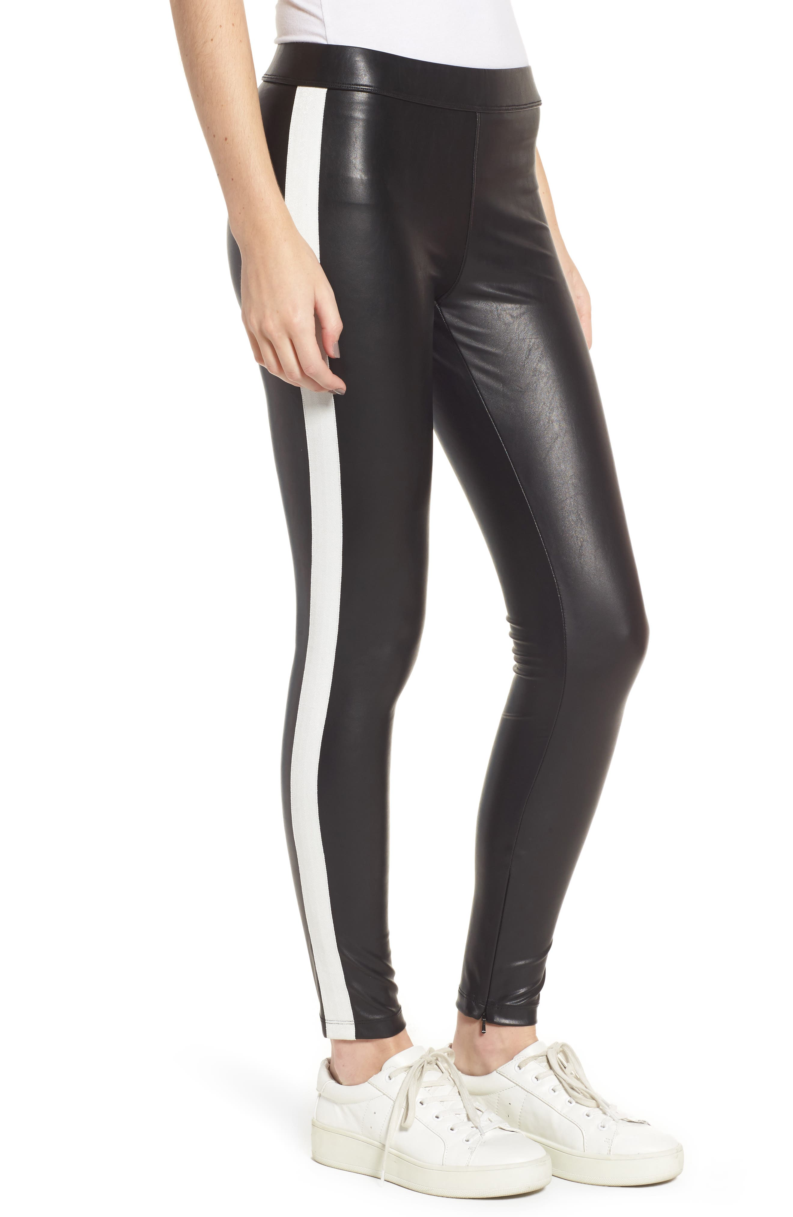 Tuxedo Stripe Zip Faux Leather Leggings,                             Alternate thumbnail 3, color,                             Classic Black W/ White