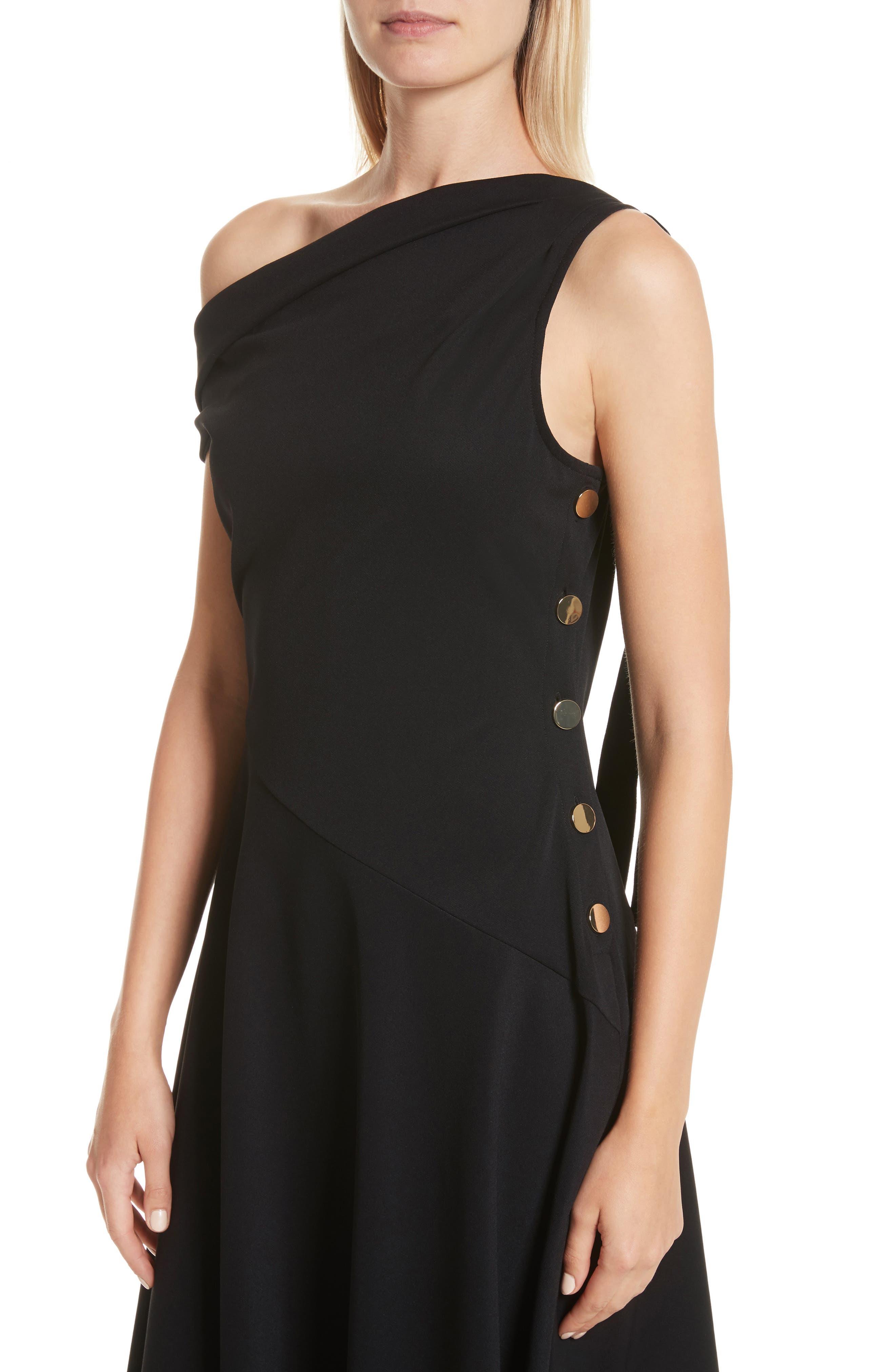 One-Shoulder Midi Dress,                             Alternate thumbnail 4, color,                             Black