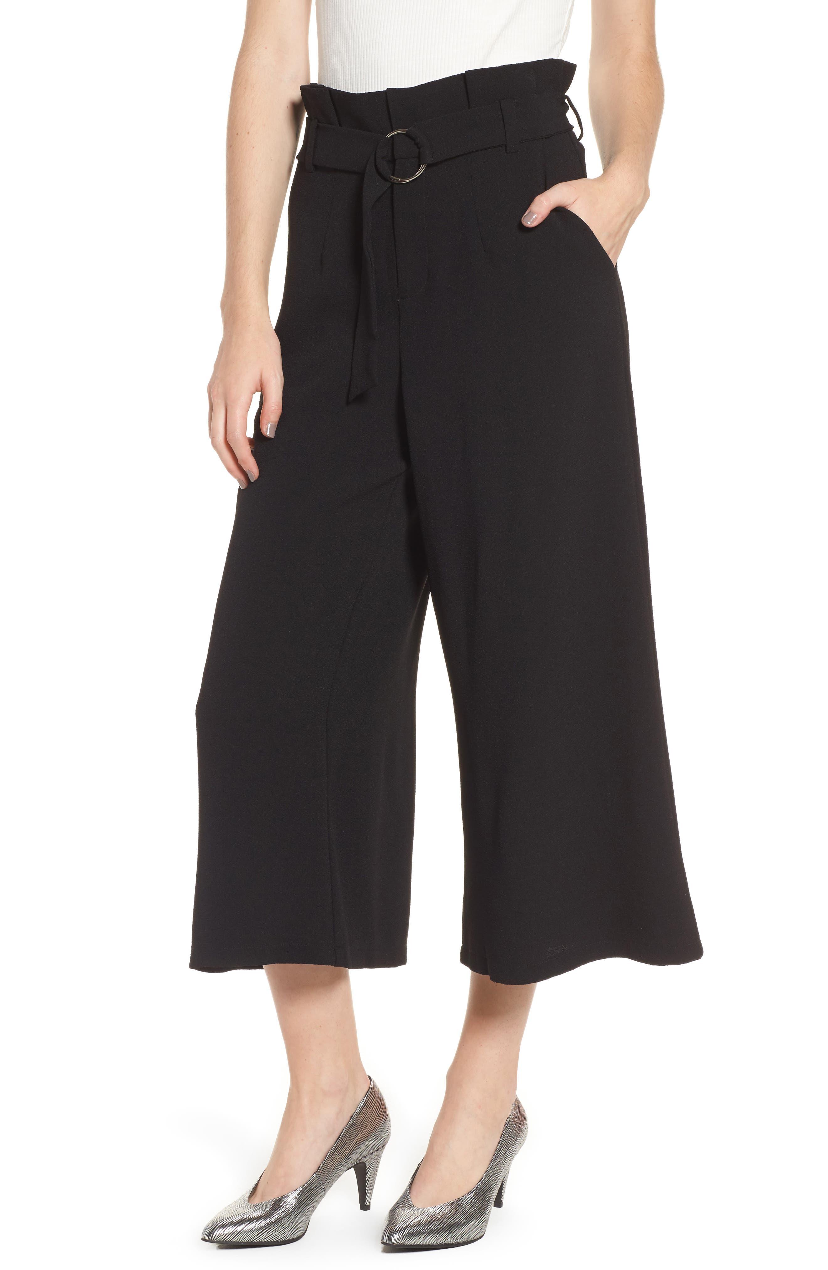 Paperbag Waist Wide Leg Crop Pants,                         Main,                         color, Black