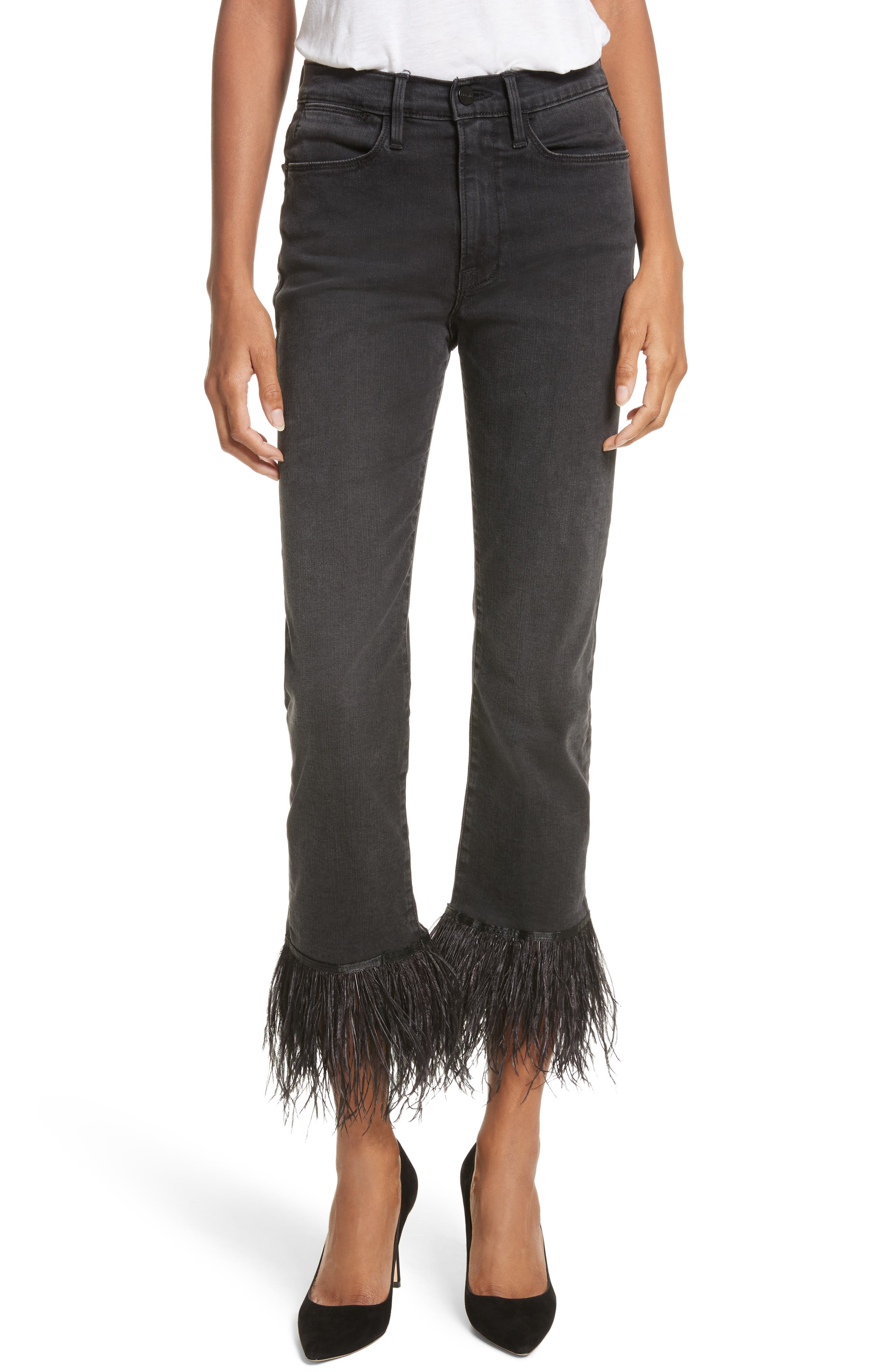 Le High Straight High Rise Feather Hem Jeans,                         Main,                         color, Ludlow