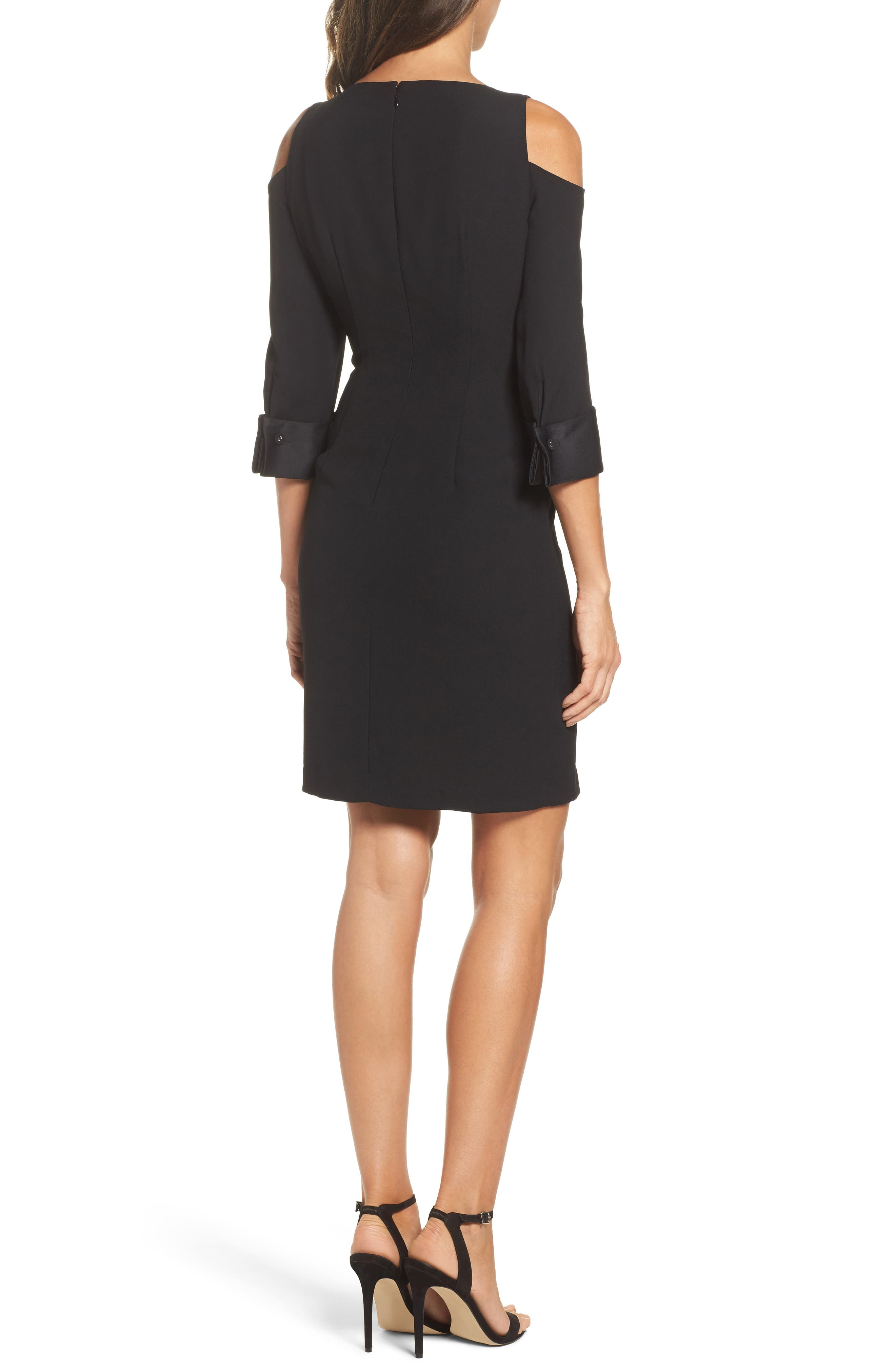 Alternate Image 2  - Adrianna Papell Tuxedo Cold Shoulder Sheath Dress