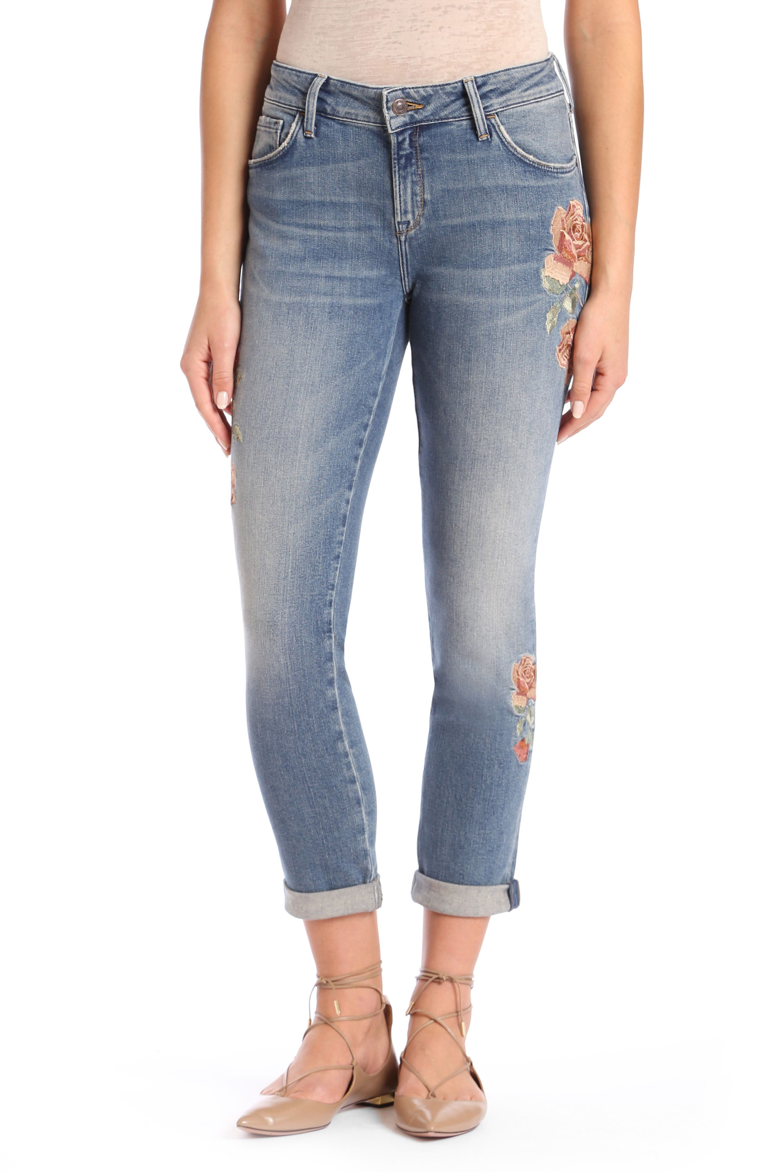 Ada Embroidered Boyfriend Jeans,                         Main,                         color, Mid Rose Embroidery