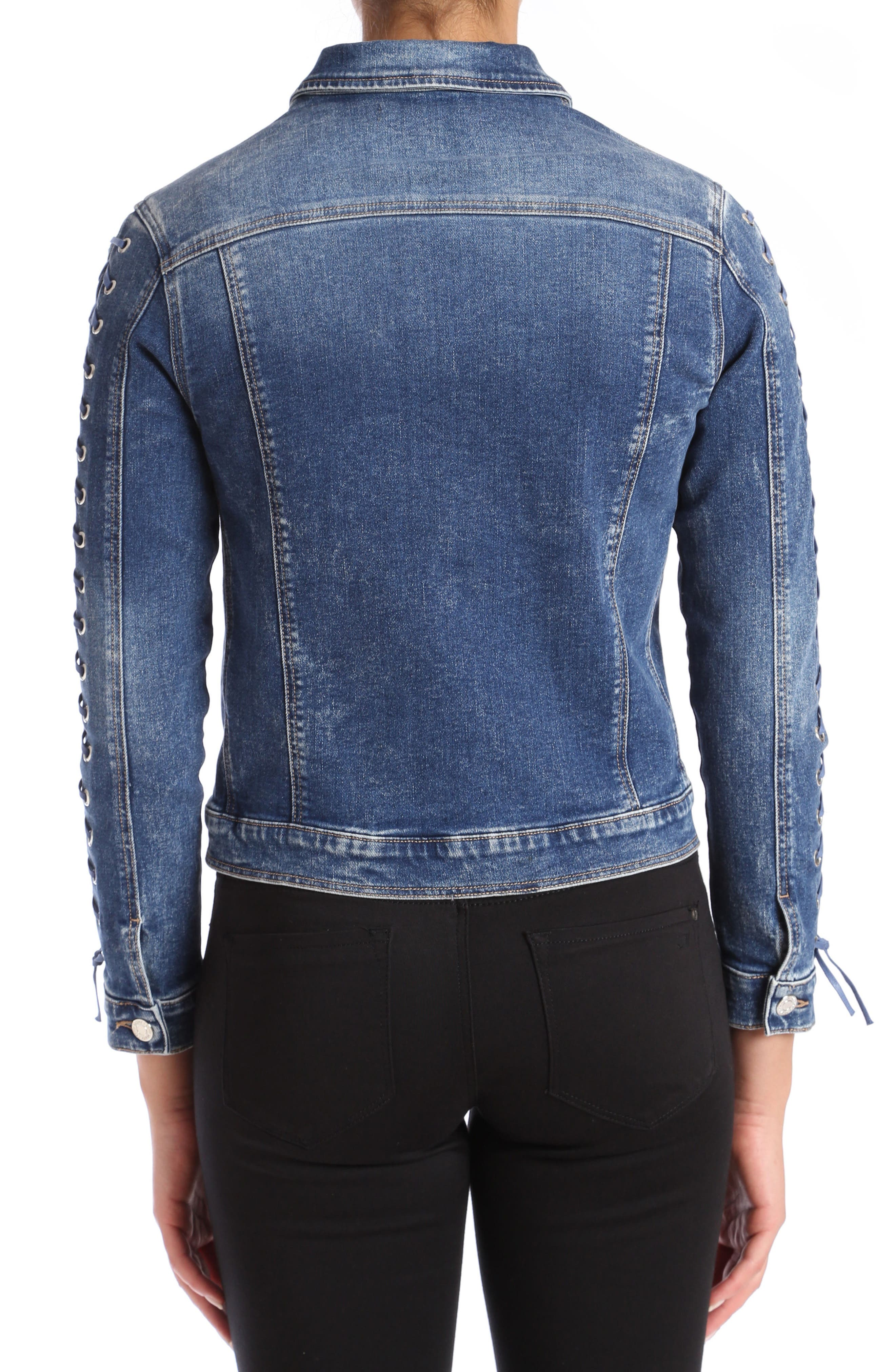 Katy Lace-Up Sleeve Denim Jacket,                             Alternate thumbnail 2, color,                             Dark Indigo Eyelet