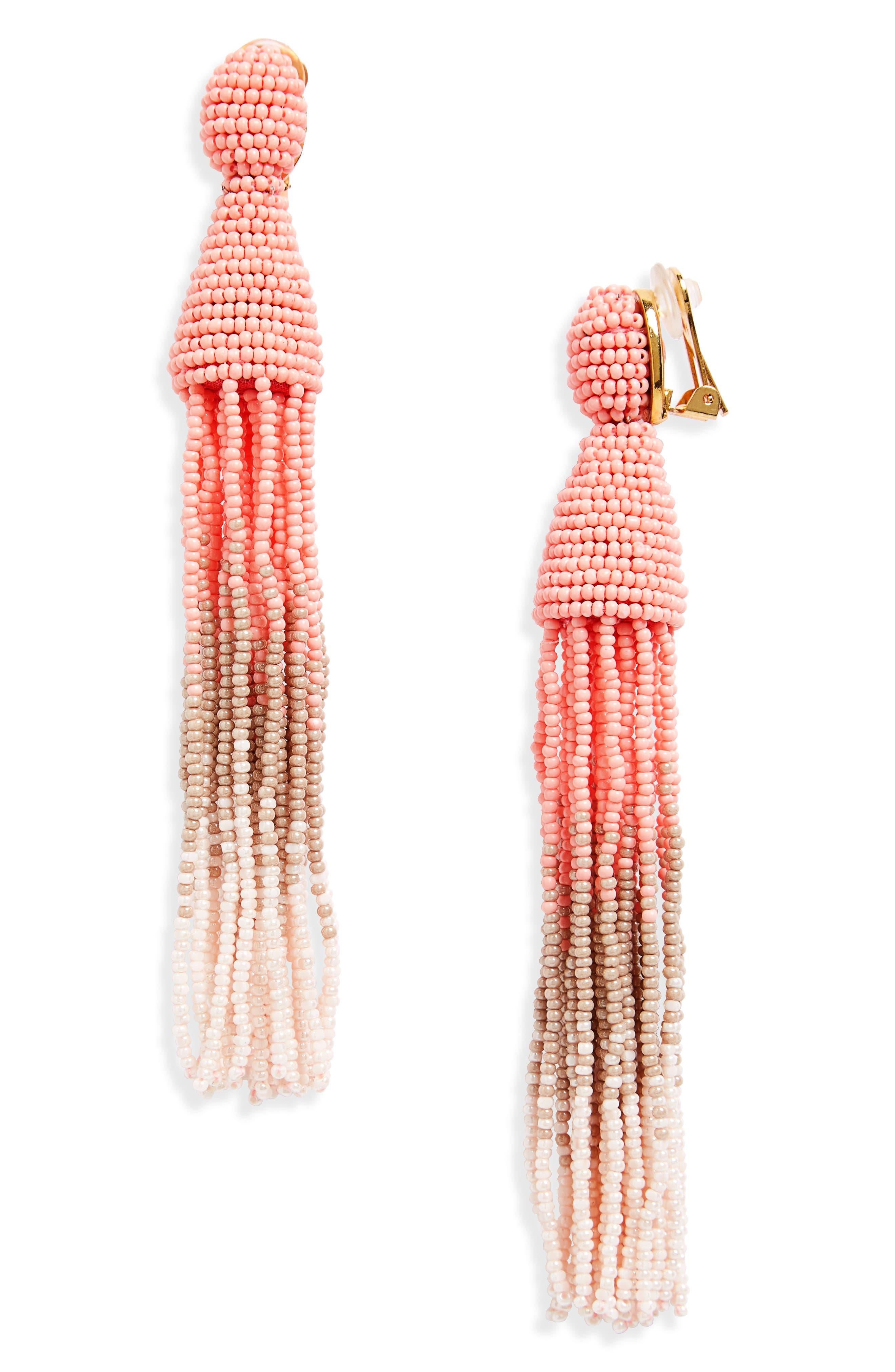 Oscar de la Renta Ombré Long Tassel Clip Earrings