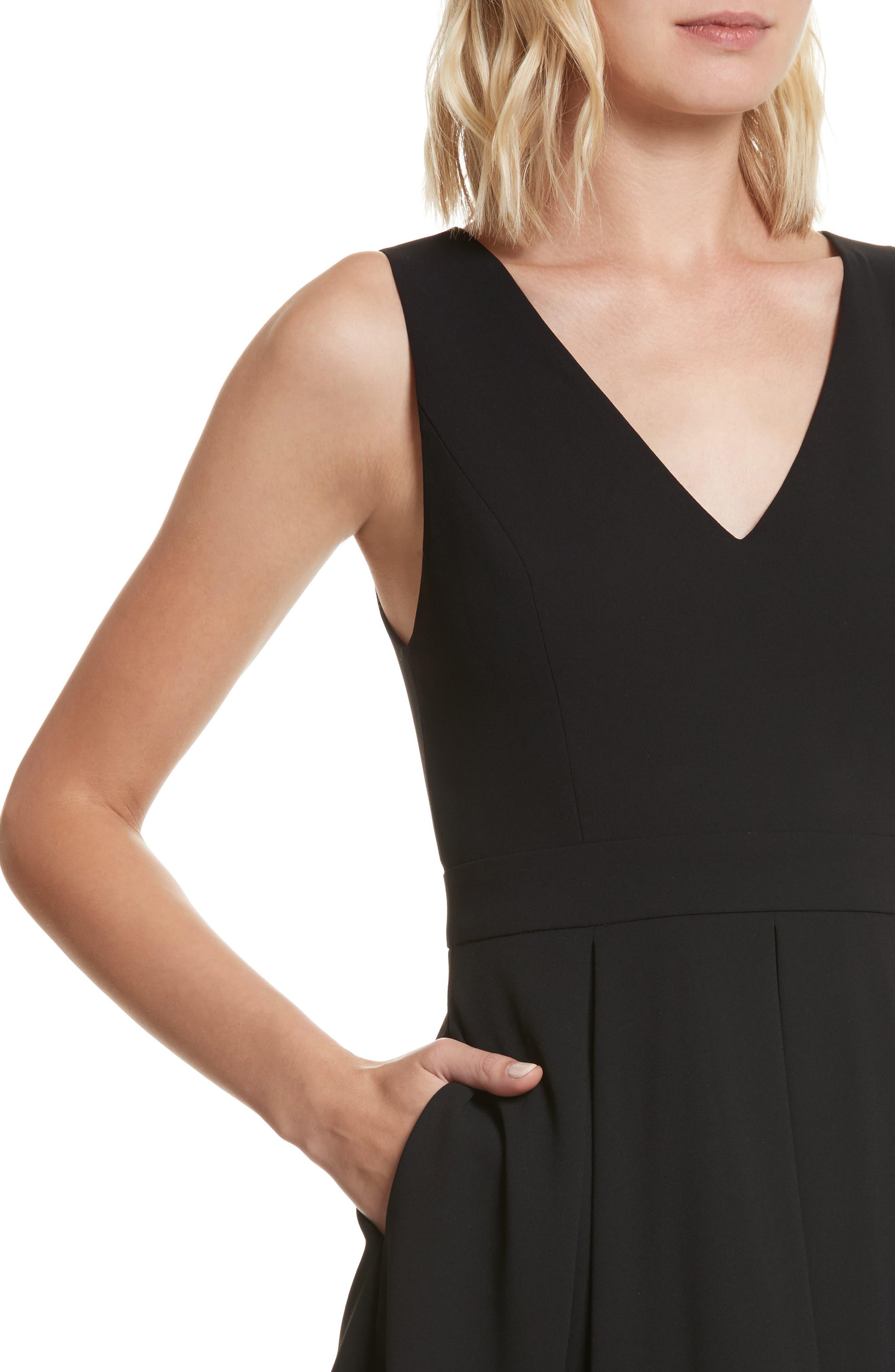 Julieta Inverted Pleat Fit & Flare Dress,                             Alternate thumbnail 4, color,                             Black