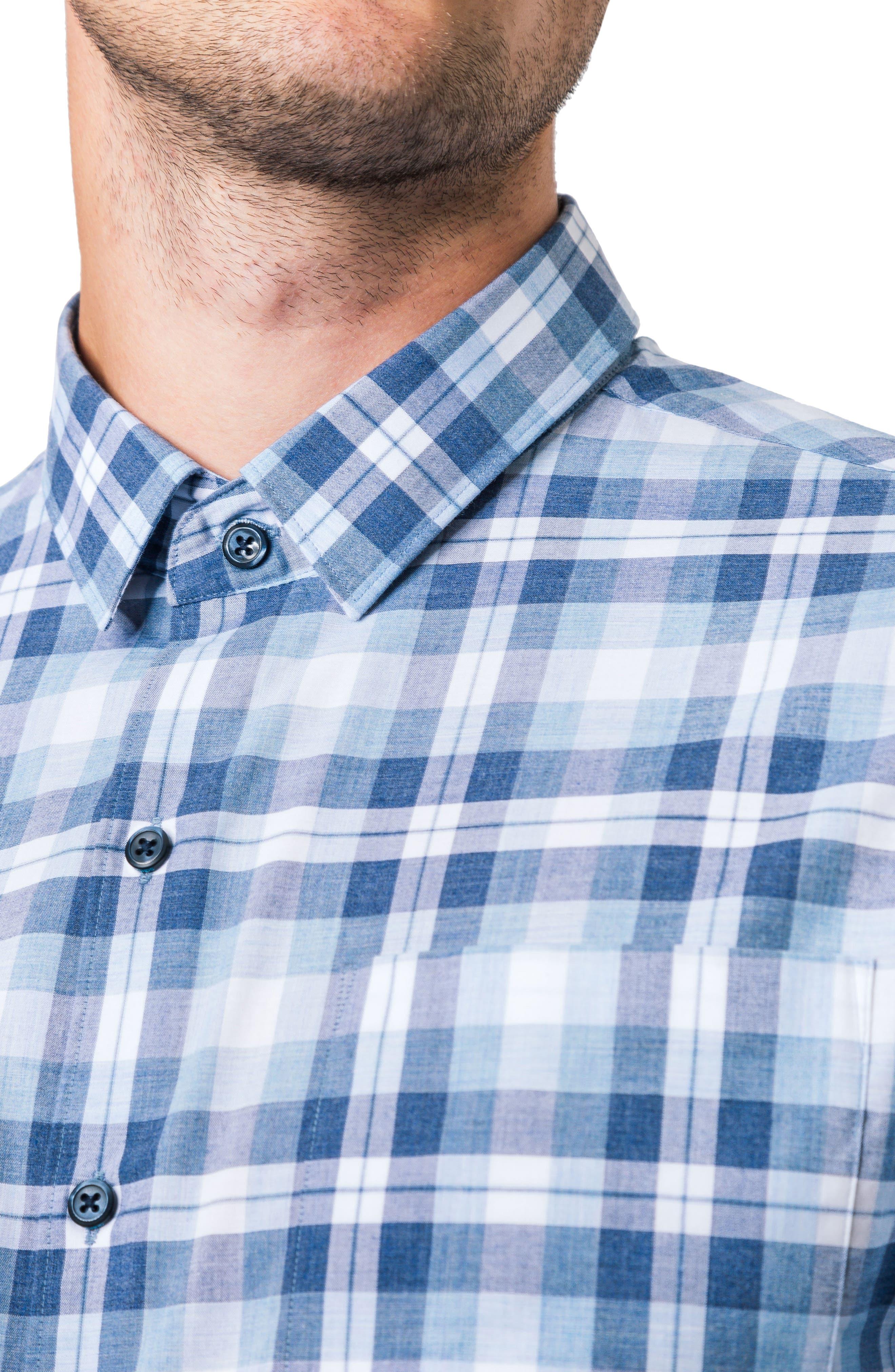 Morning Rain Woven Shirt,                             Alternate thumbnail 4, color,                             Blue