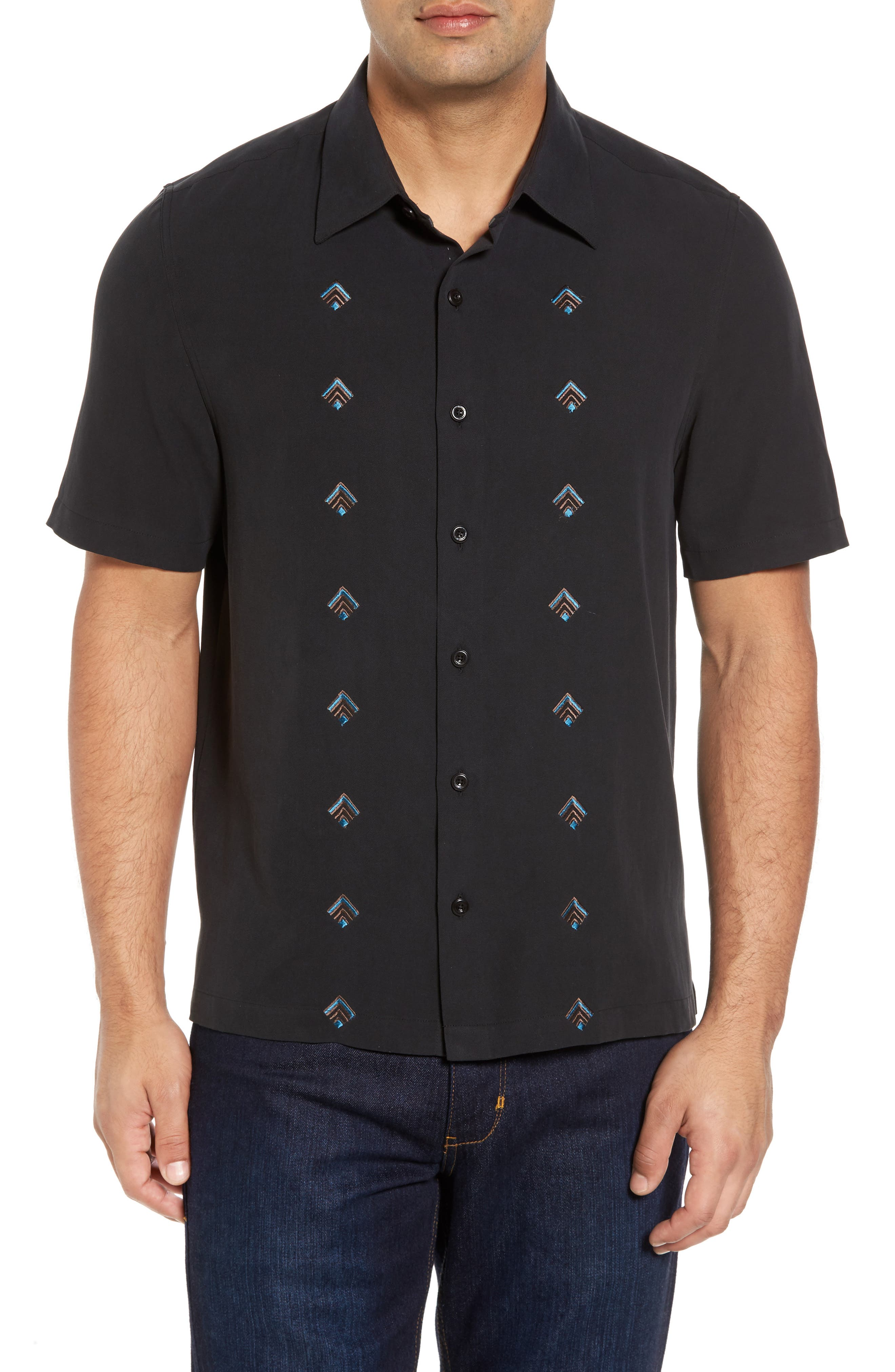 Nordic Embroidered Silk Blend Sport Shirt,                         Main,                         color, Black