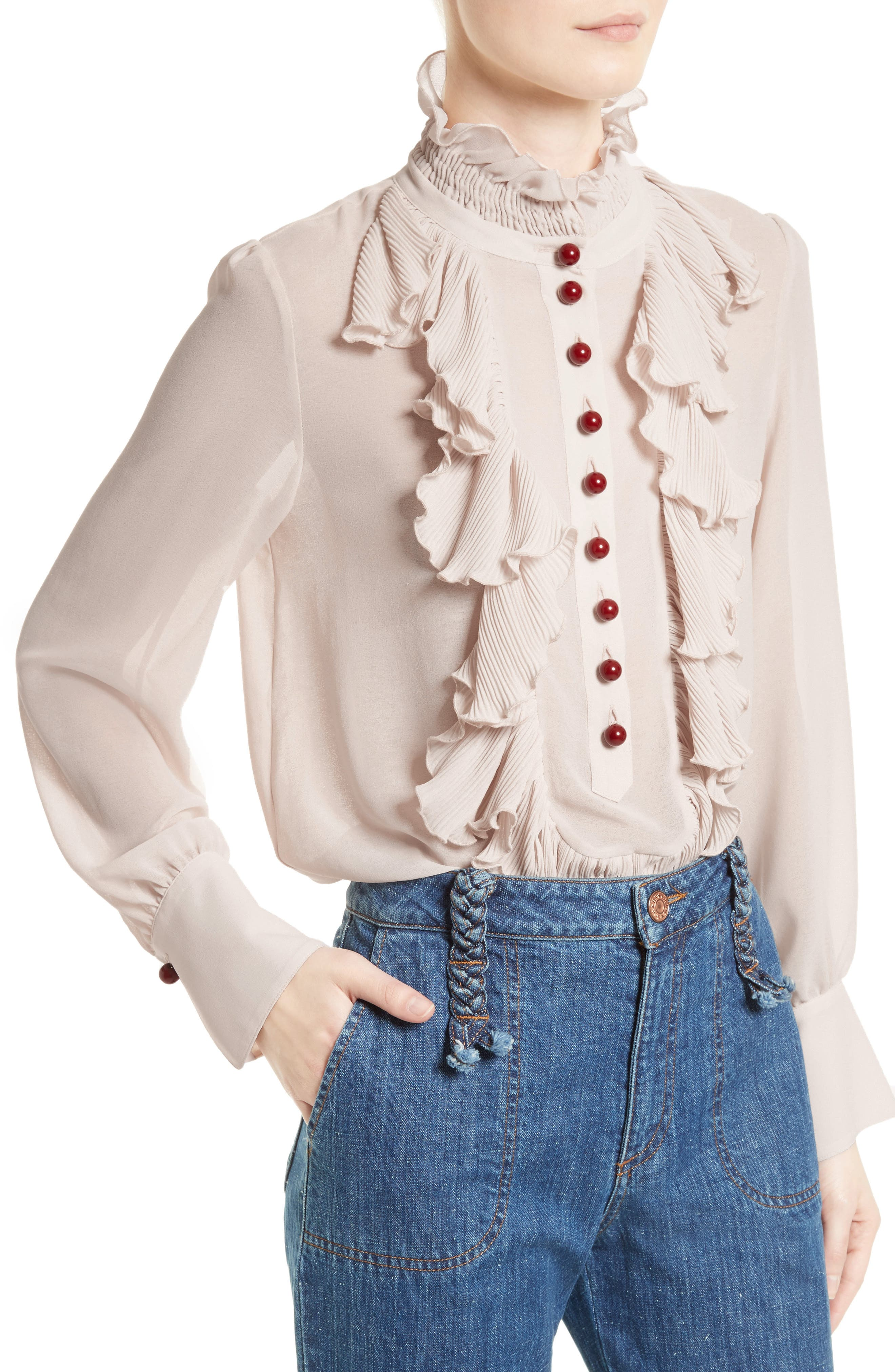 Alternate Image 4  - See by Chloé Ruffle Front Blouse