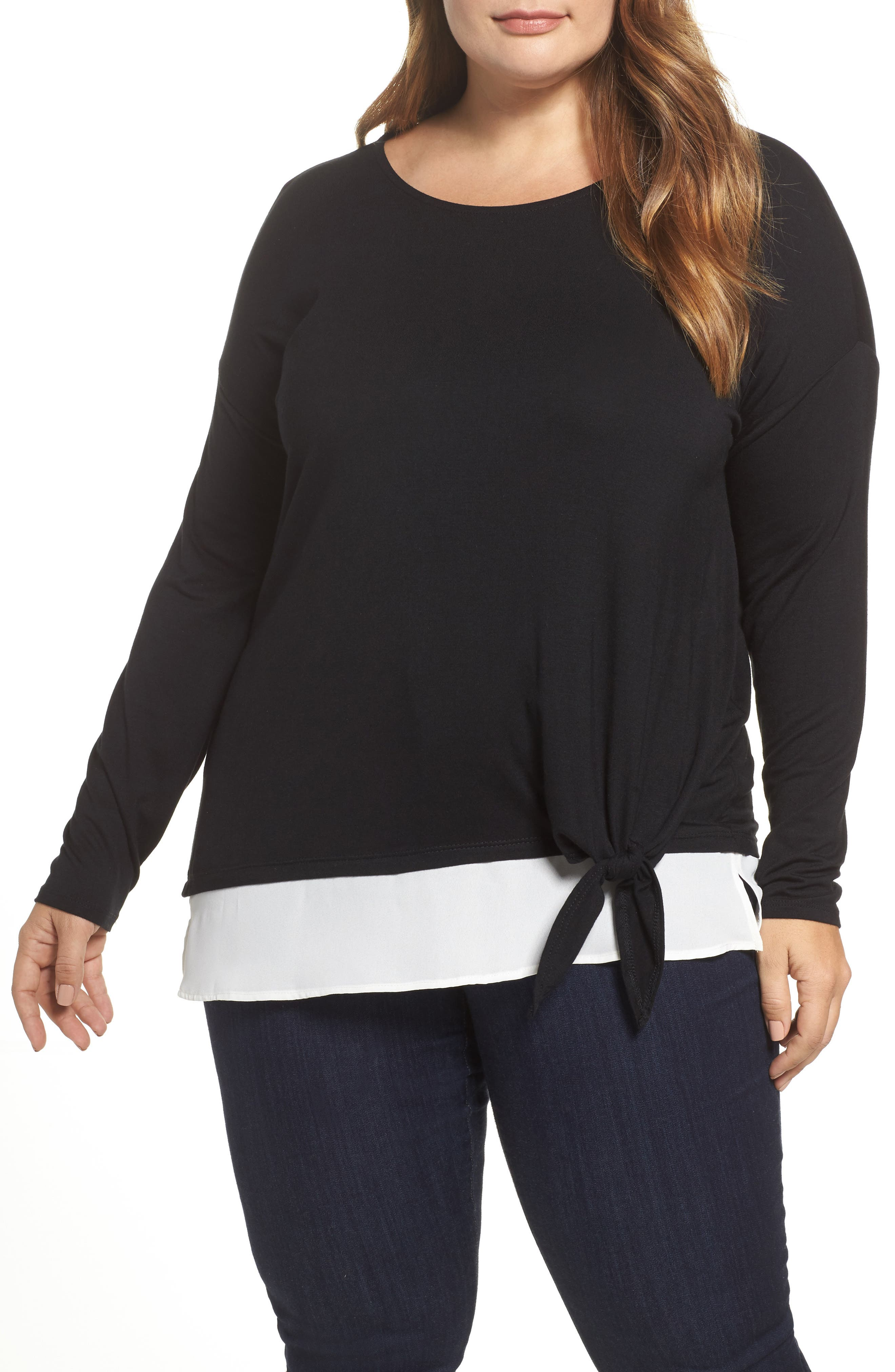 Alternate Image 1 Selected - Sejour Layered Look Tie Hem Top (Plus Size)