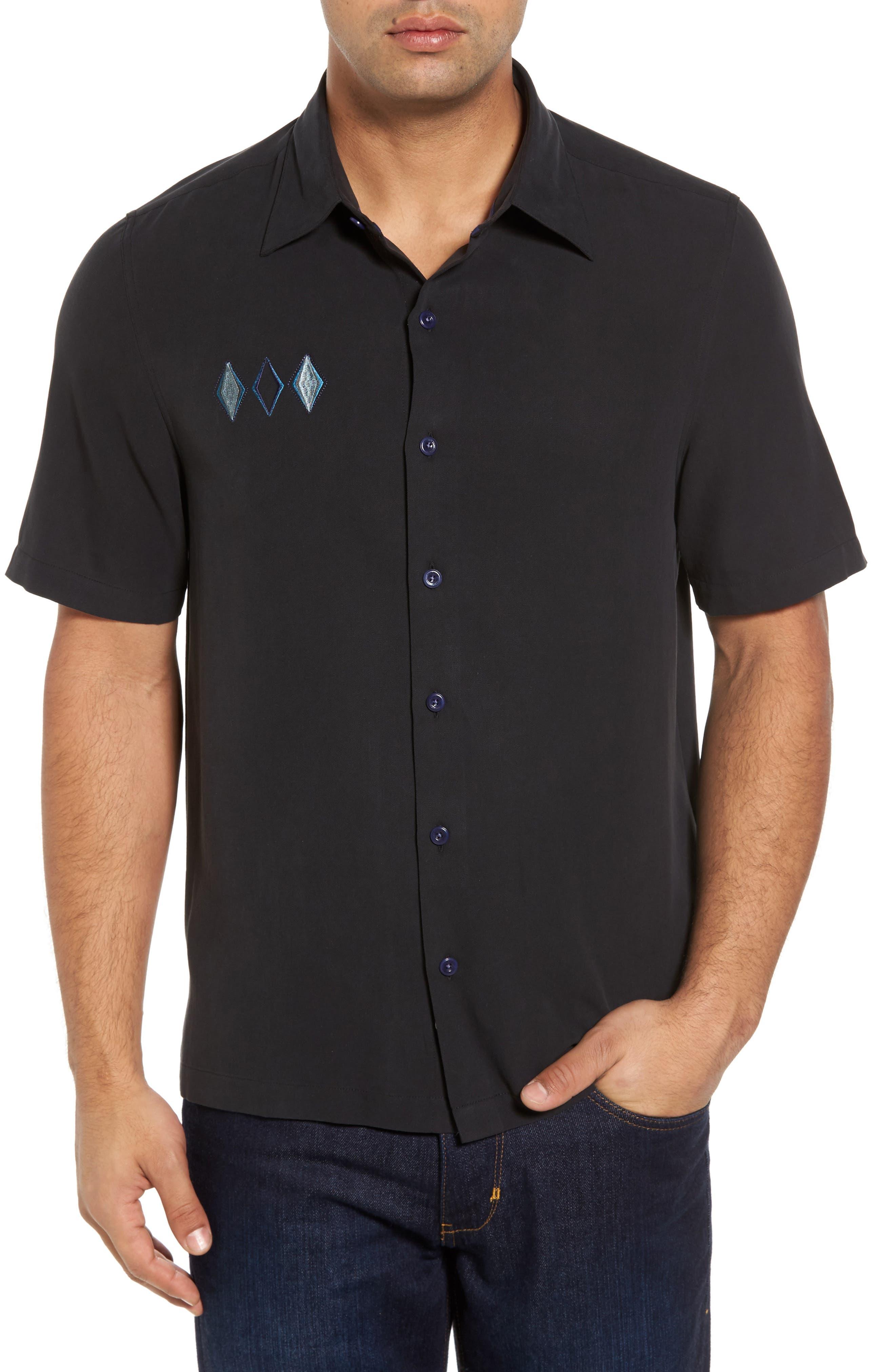 Black Diamond Regular Fit Embroidered Silk Blend Sport Shirt,                             Main thumbnail 1, color,                             Black