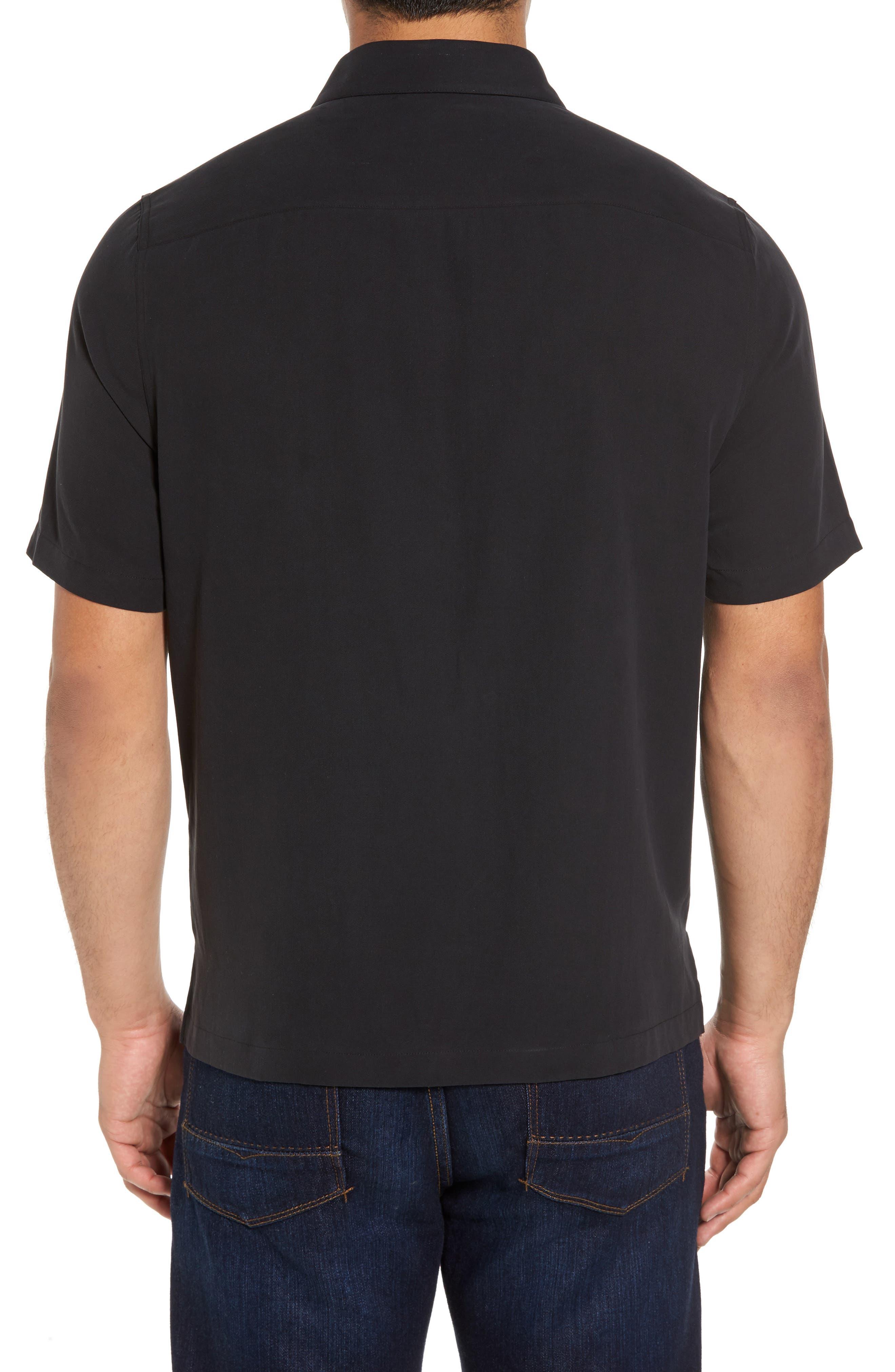 Summit Regular Fit Embroidered Silk Blend Sport Shirt,                             Alternate thumbnail 2, color,                             Black