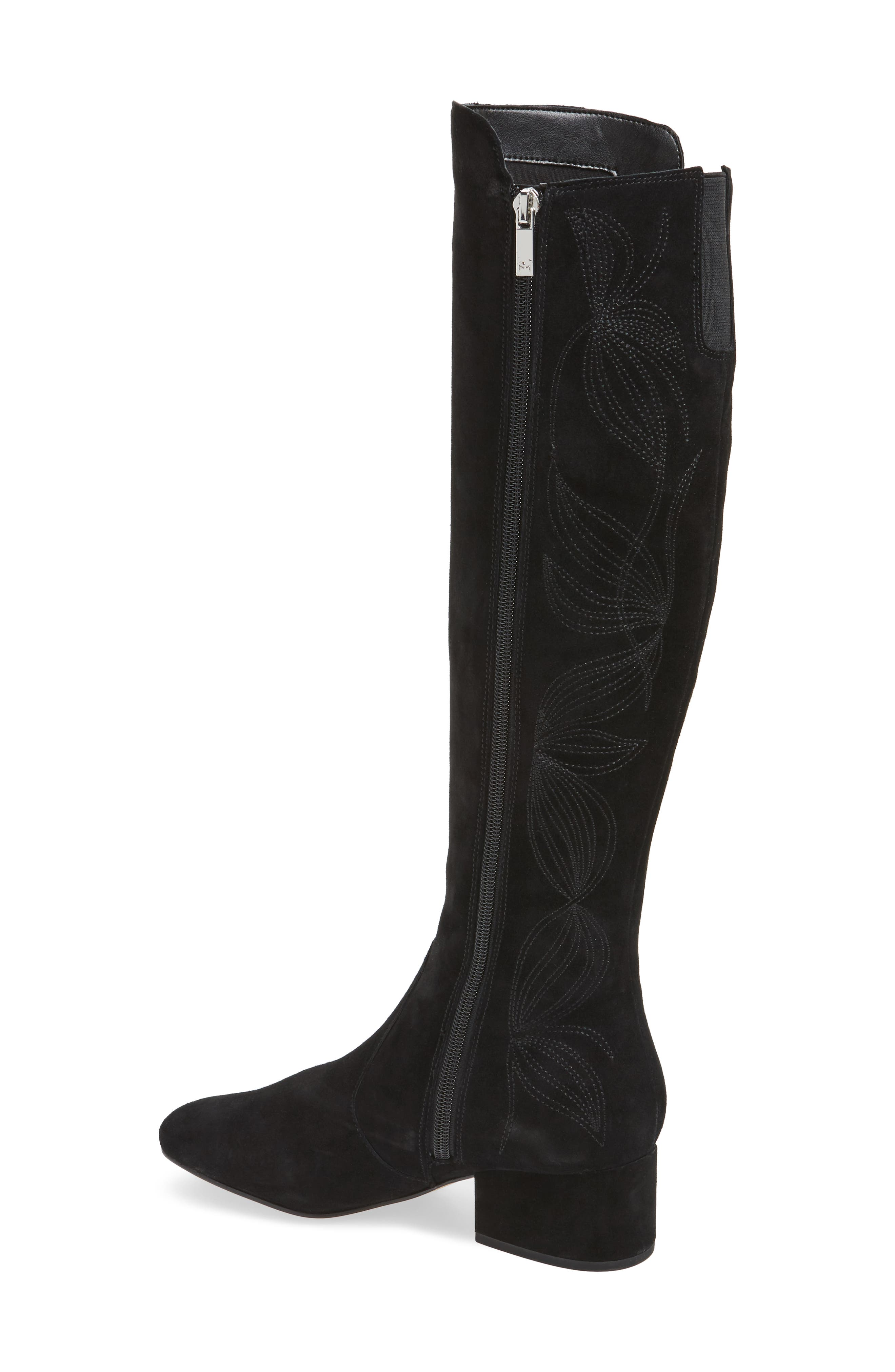 Tawnna Knee High Boot,                             Alternate thumbnail 2, color,                             Black Suede