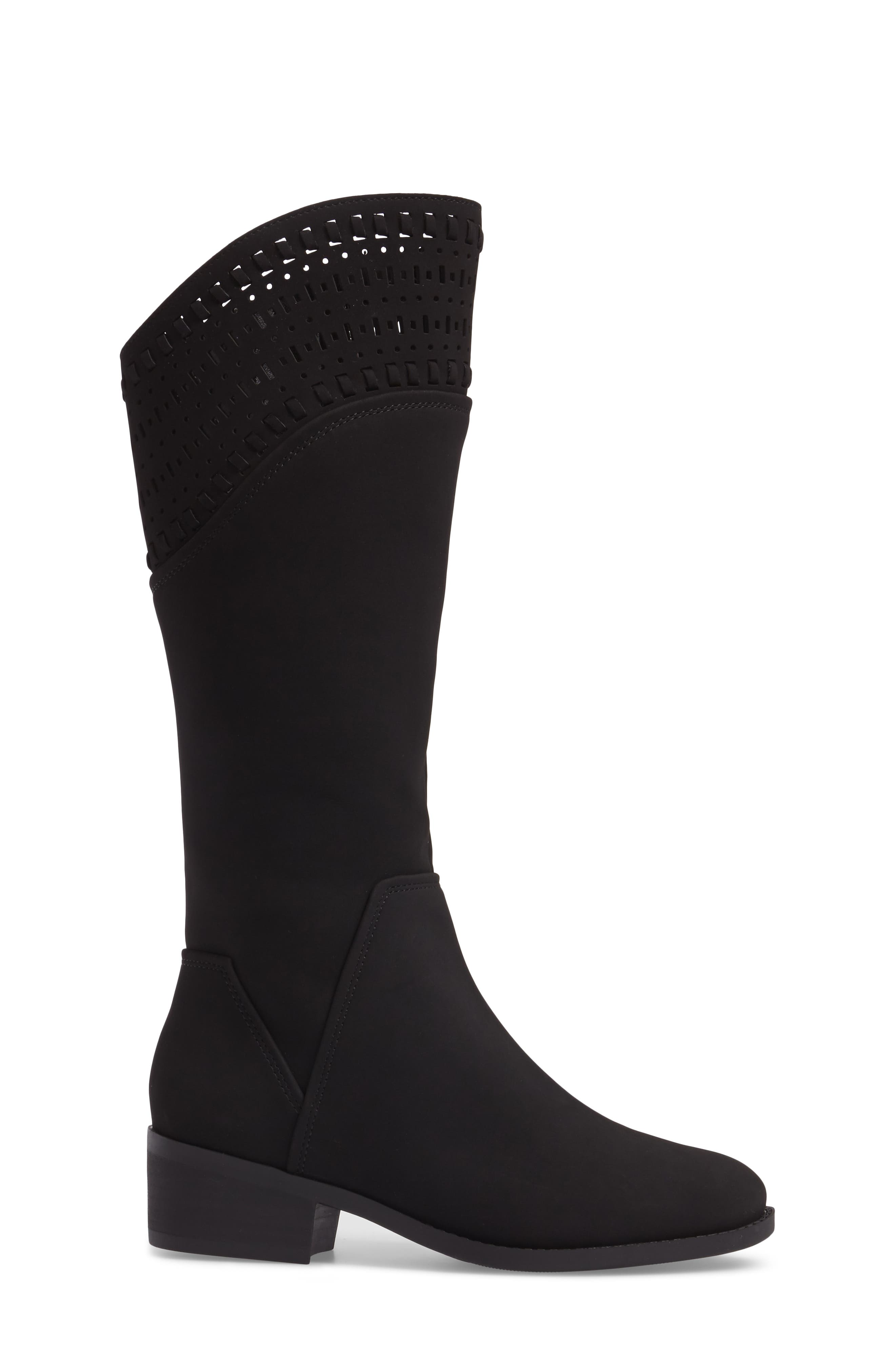 Blysse Woven Tall Boot,                             Alternate thumbnail 3, color,                             Black Suede