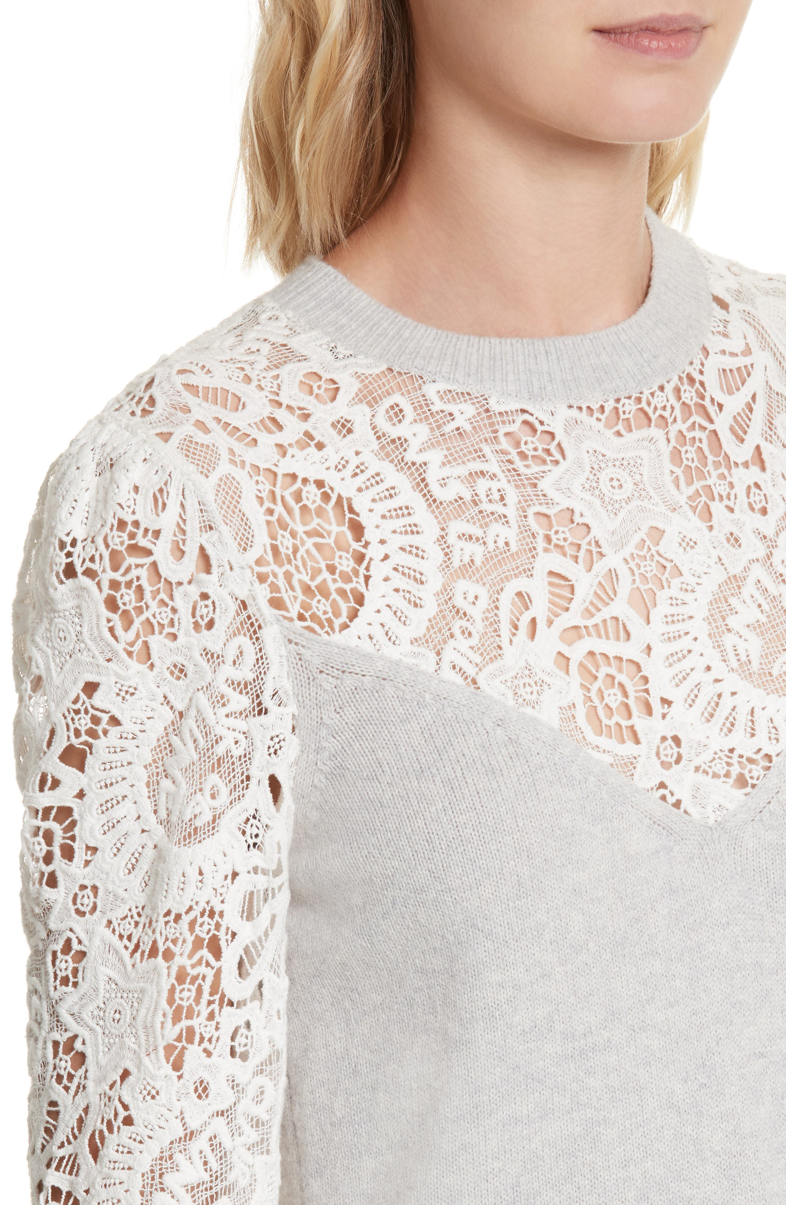 Alternate Image 4  - Rebecca Taylor Lace Trim Knit Pullover