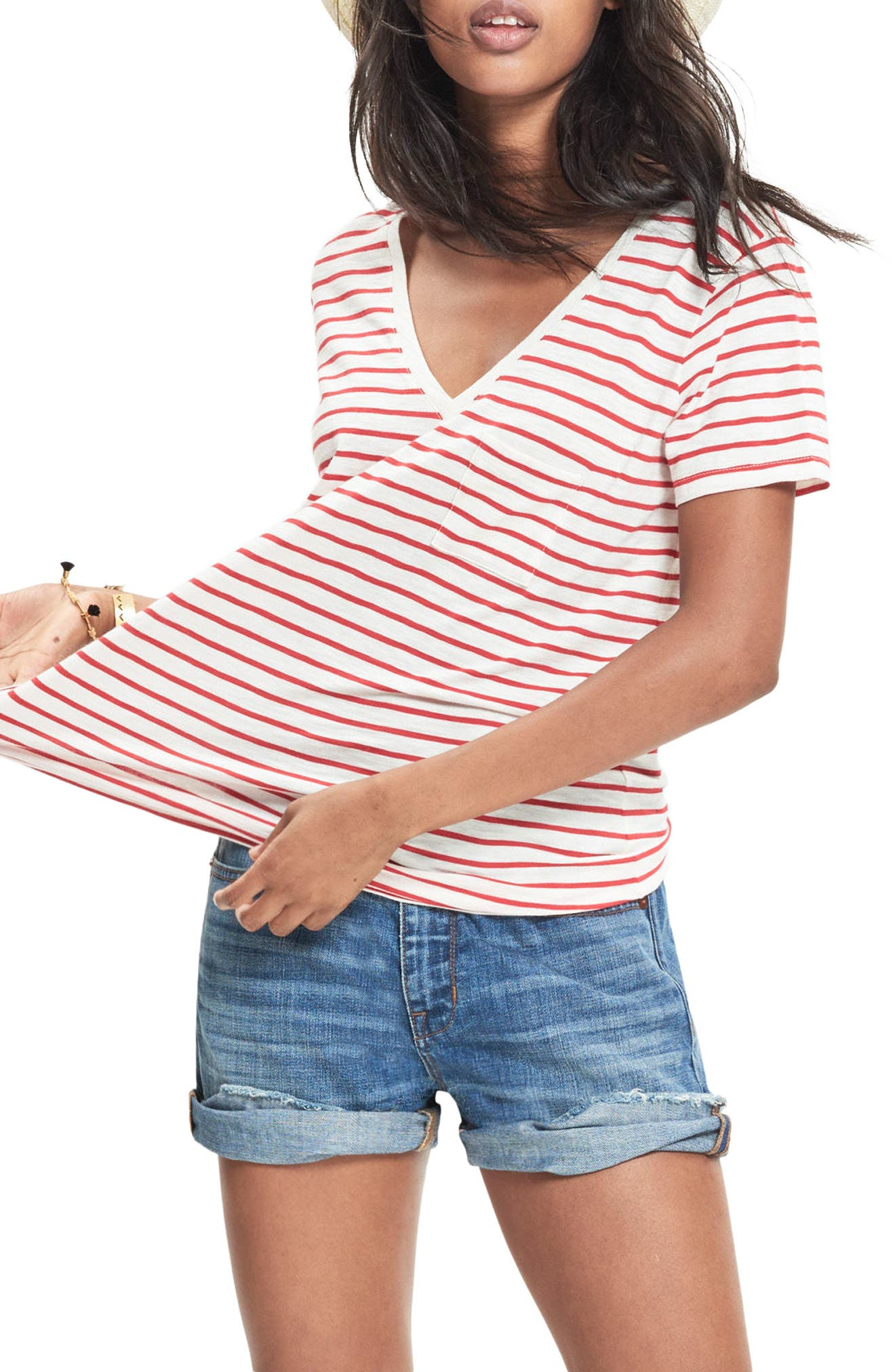 Whisper Cotton Stripe V-Neck Tee,                         Main,                         color, Kilt Red