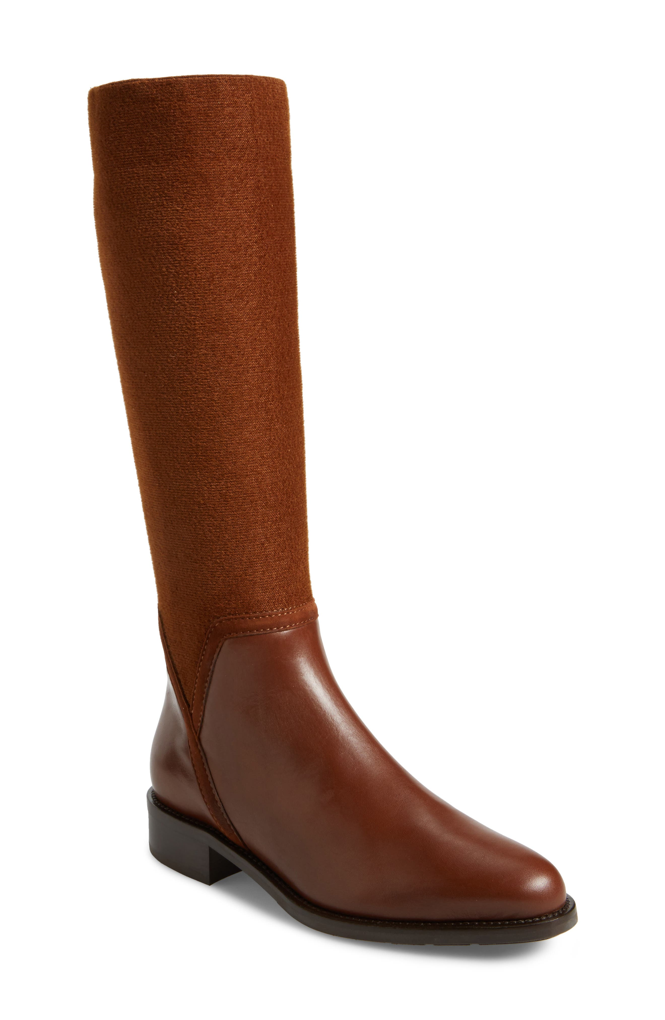Nicolette Weatherproof Knee High Boot,                             Main thumbnail 1, color,                             Castagno Calf/ Elastic