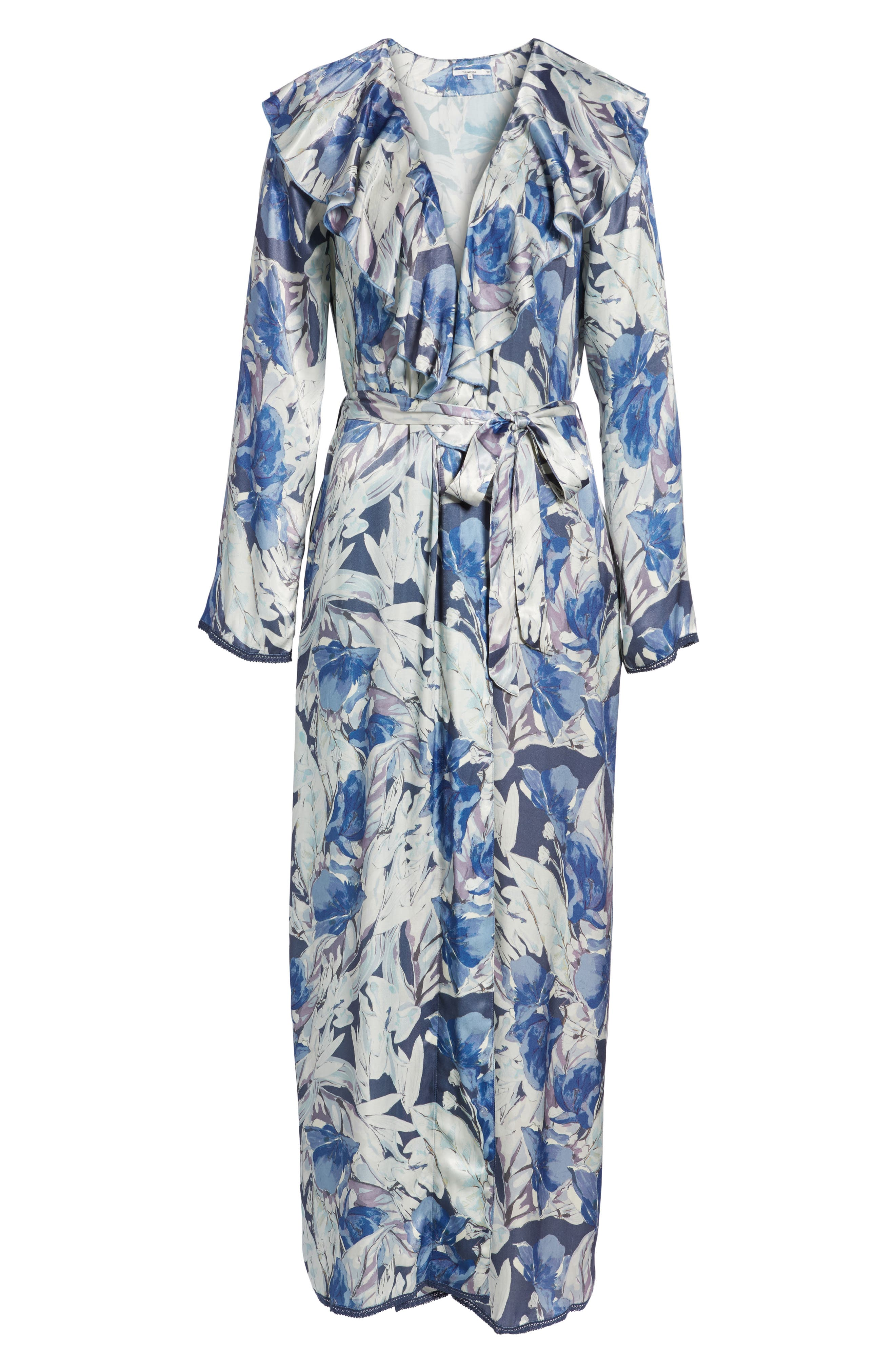 Drucilla Floral Print Duster,                             Alternate thumbnail 6, color,                             Midnight Floral