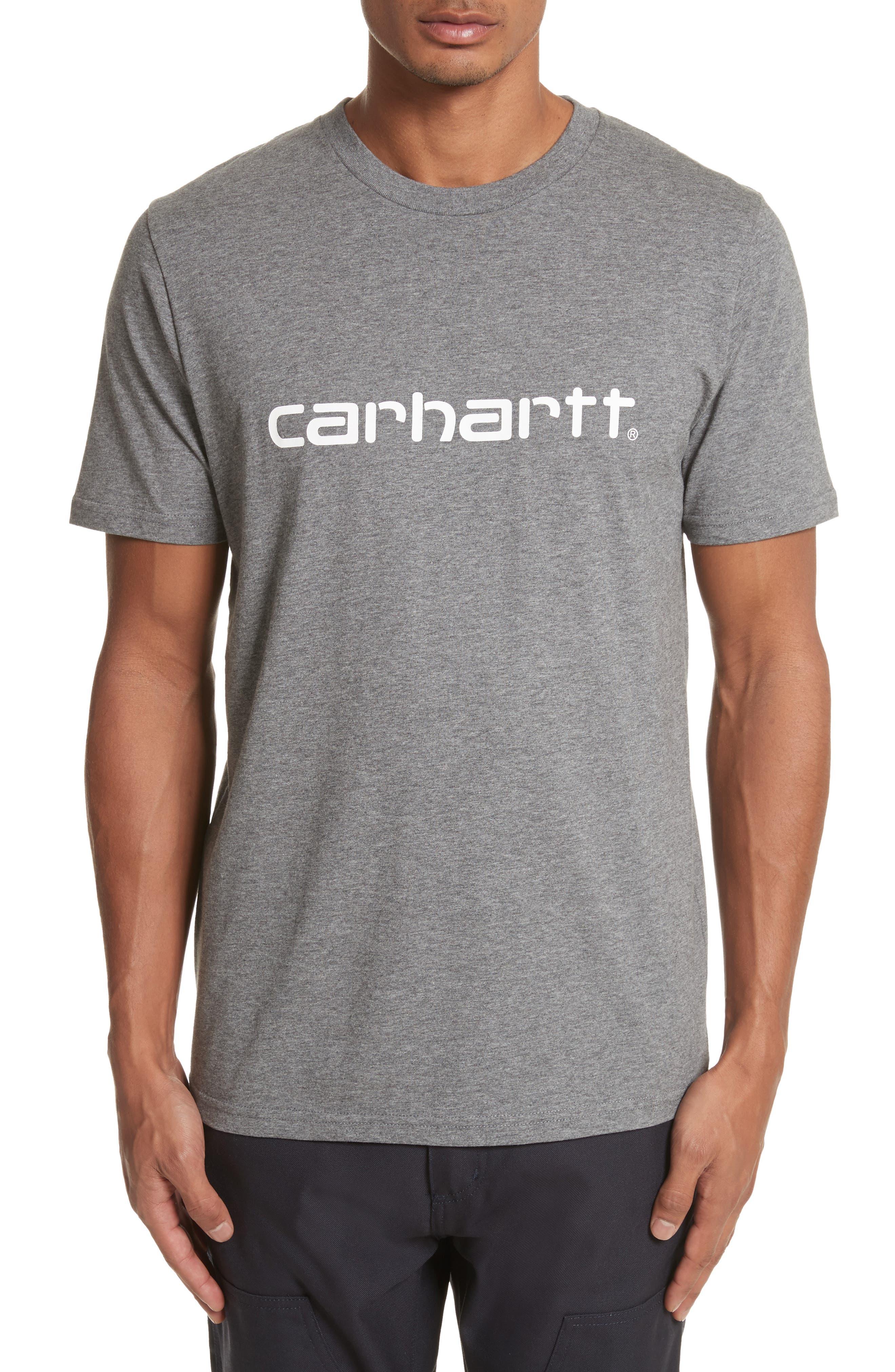 Carhartt Work in Progess Script Logo T-Shirt,                         Main,                         color, Dark Grey Heather/ White