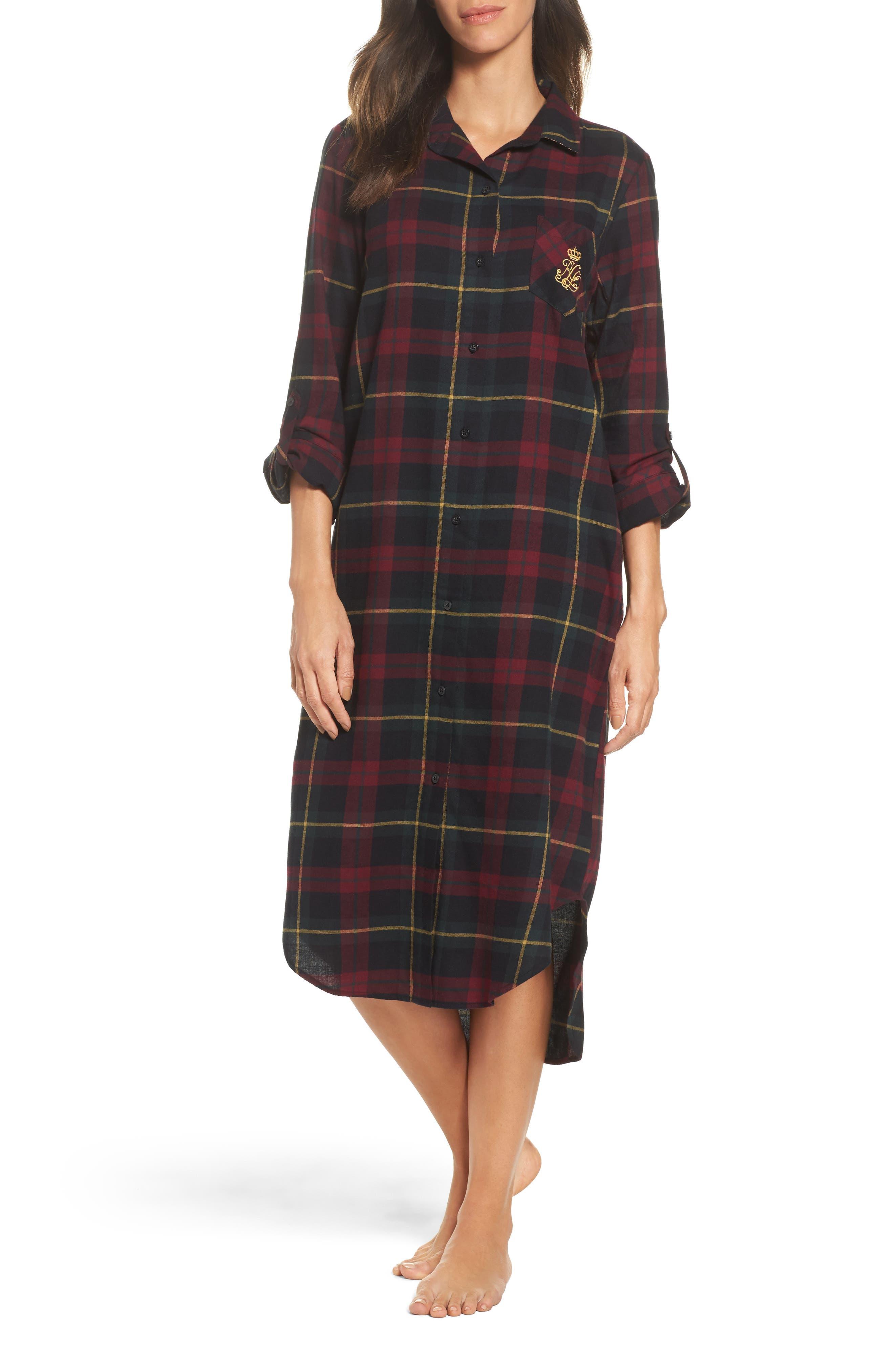 Lauren Ralph Lauren Plaid Flannel Sleep Shirt