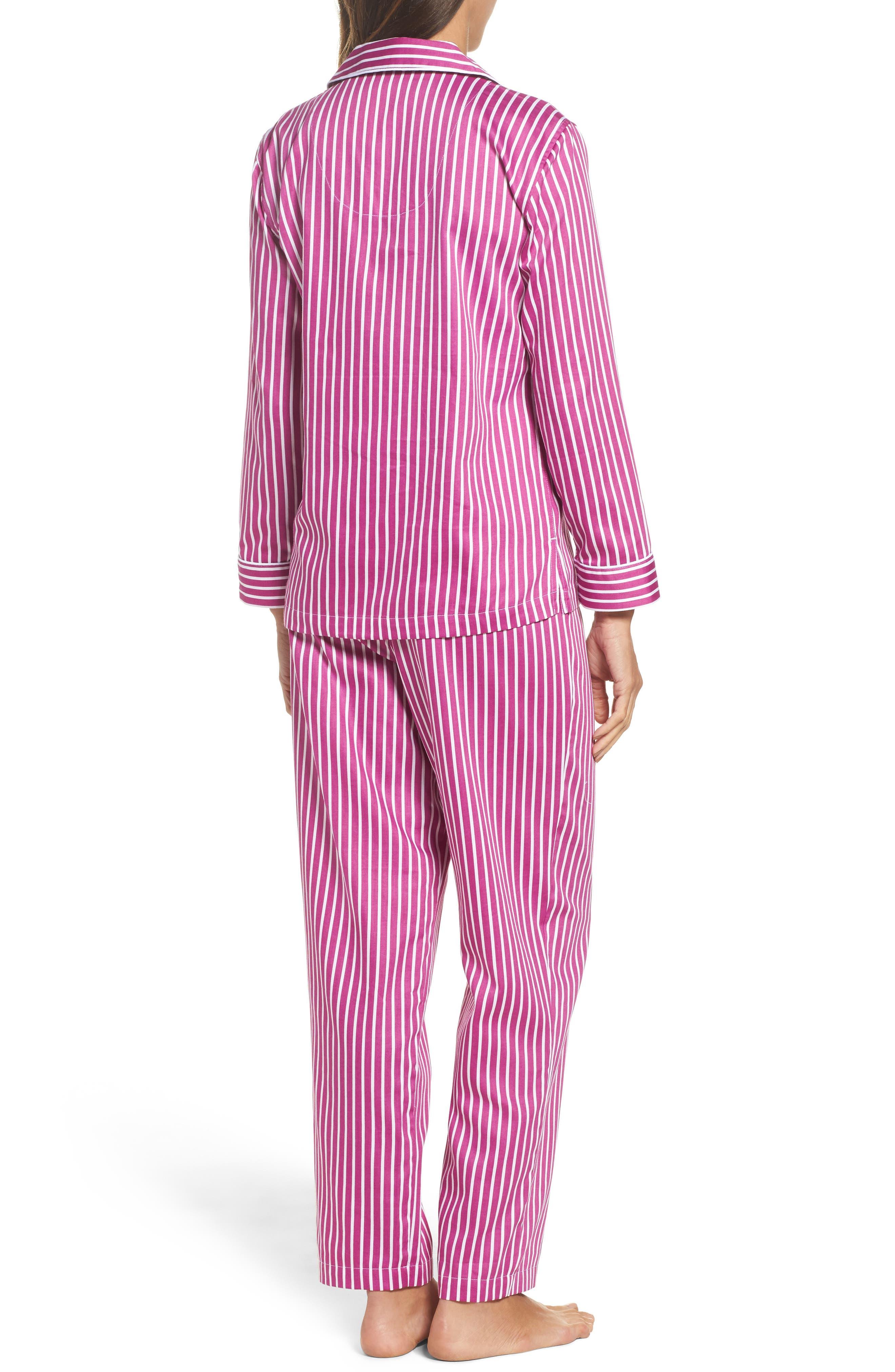 Notch Collar Pajamas,                             Alternate thumbnail 2, color,                             Pink/ White Stripe