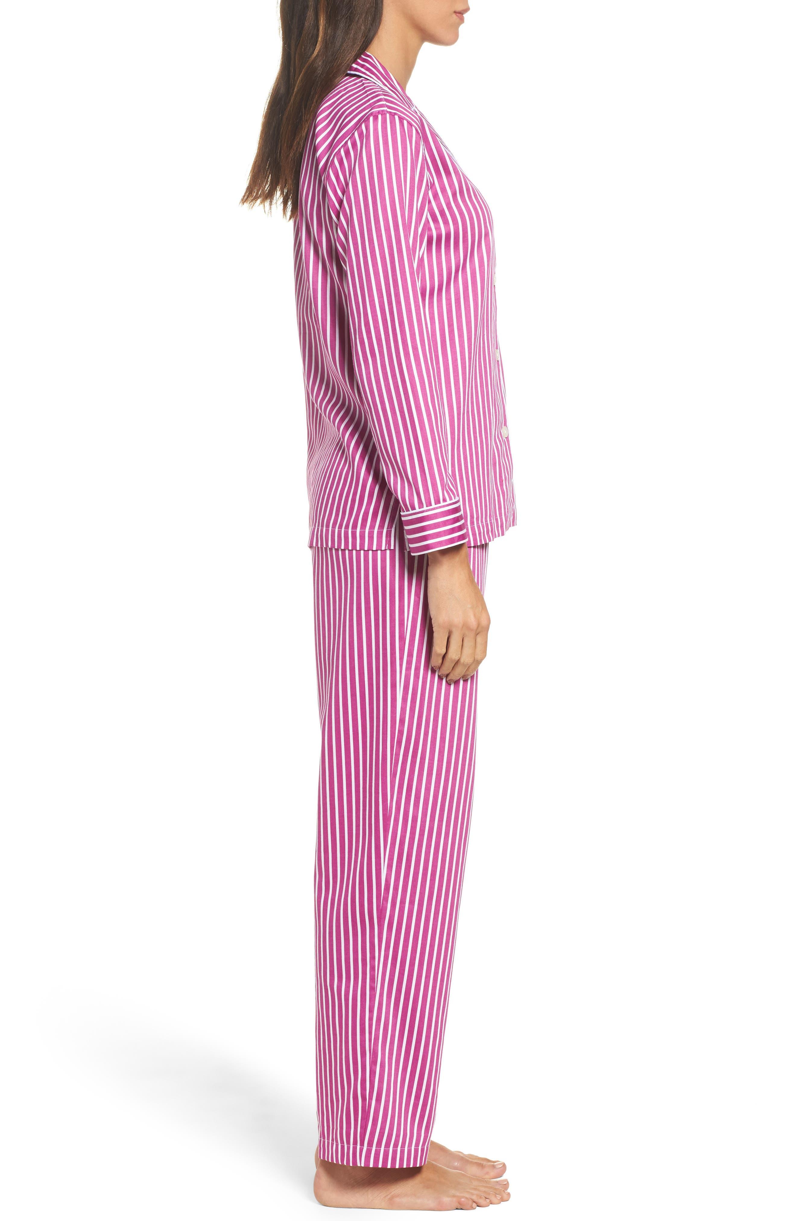 Notch Collar Pajamas,                             Alternate thumbnail 3, color,                             Pink/ White Stripe
