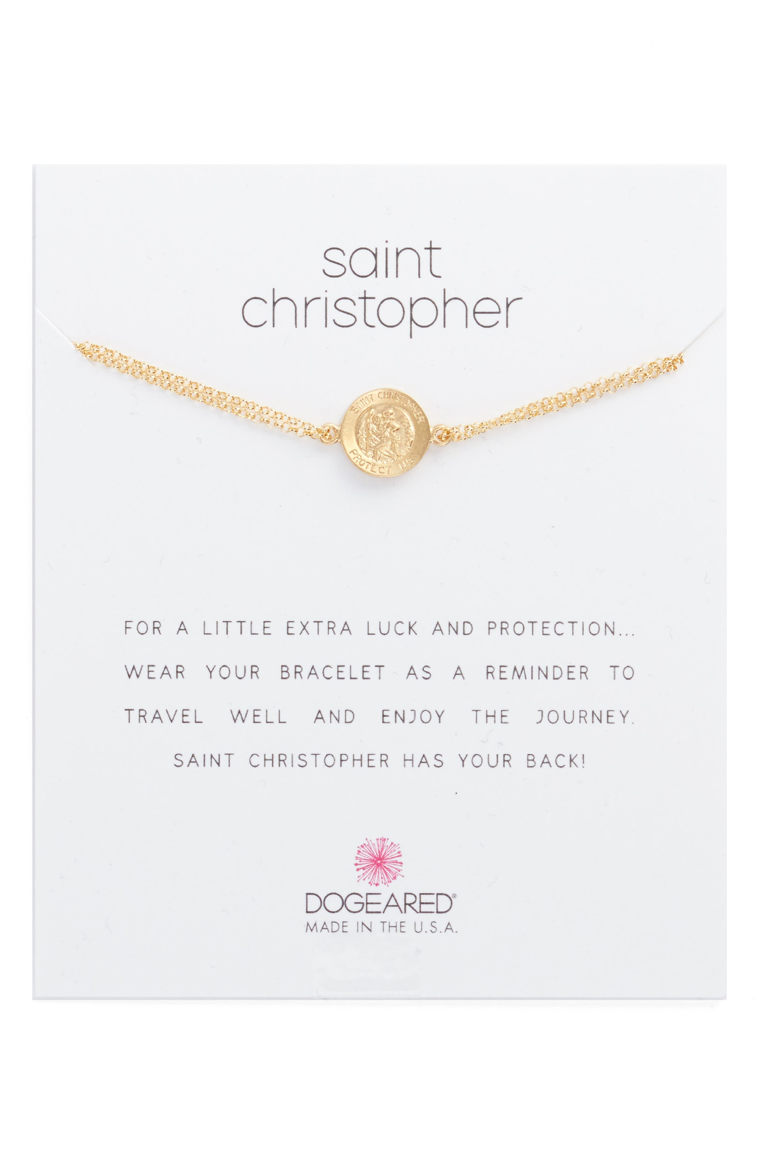 Saint Christopher Pull Bracelet,                         Main,                         color, Gold
