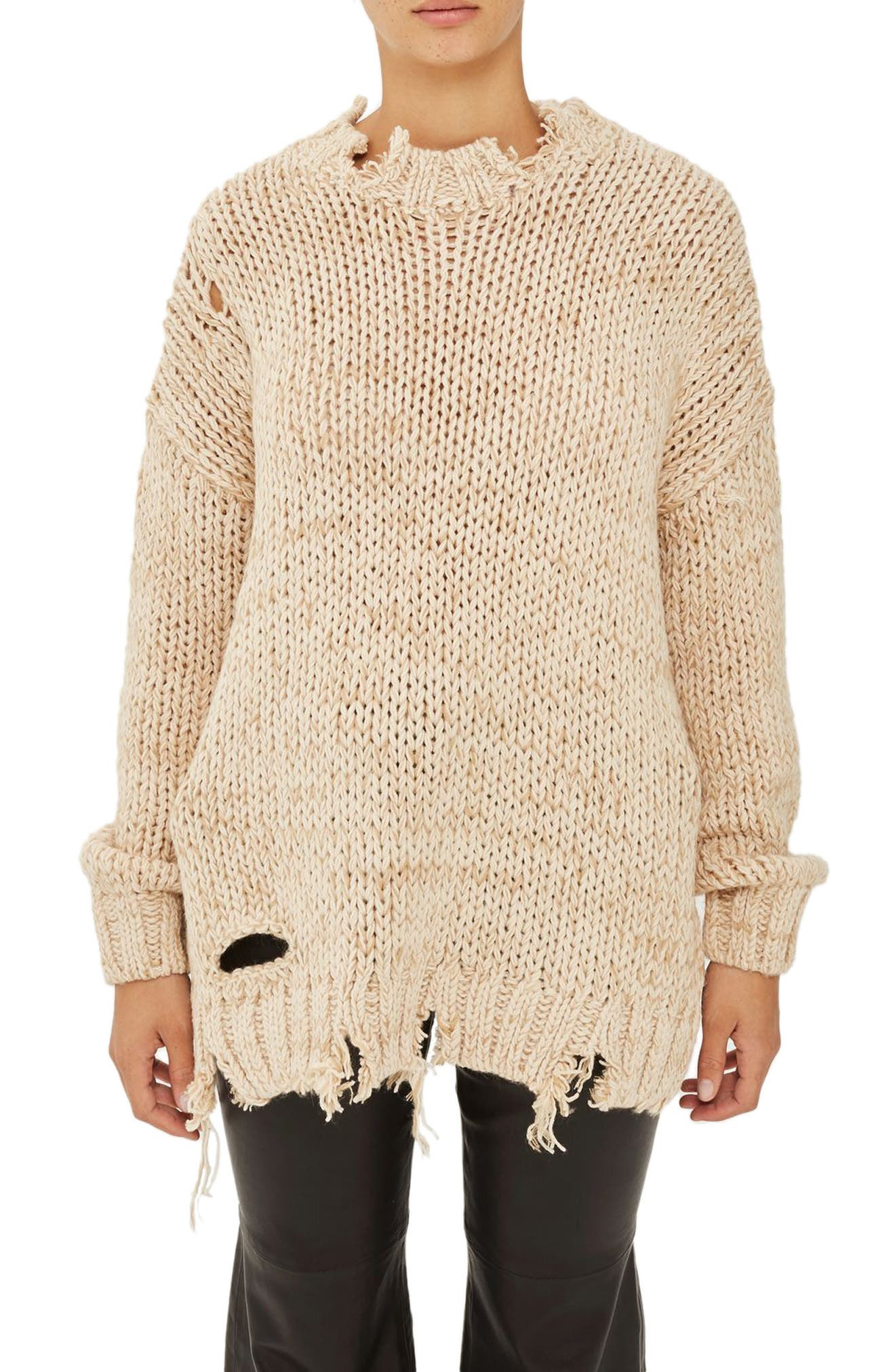 Ladder Stitch Detail Sweater,                         Main,                         color, Camel