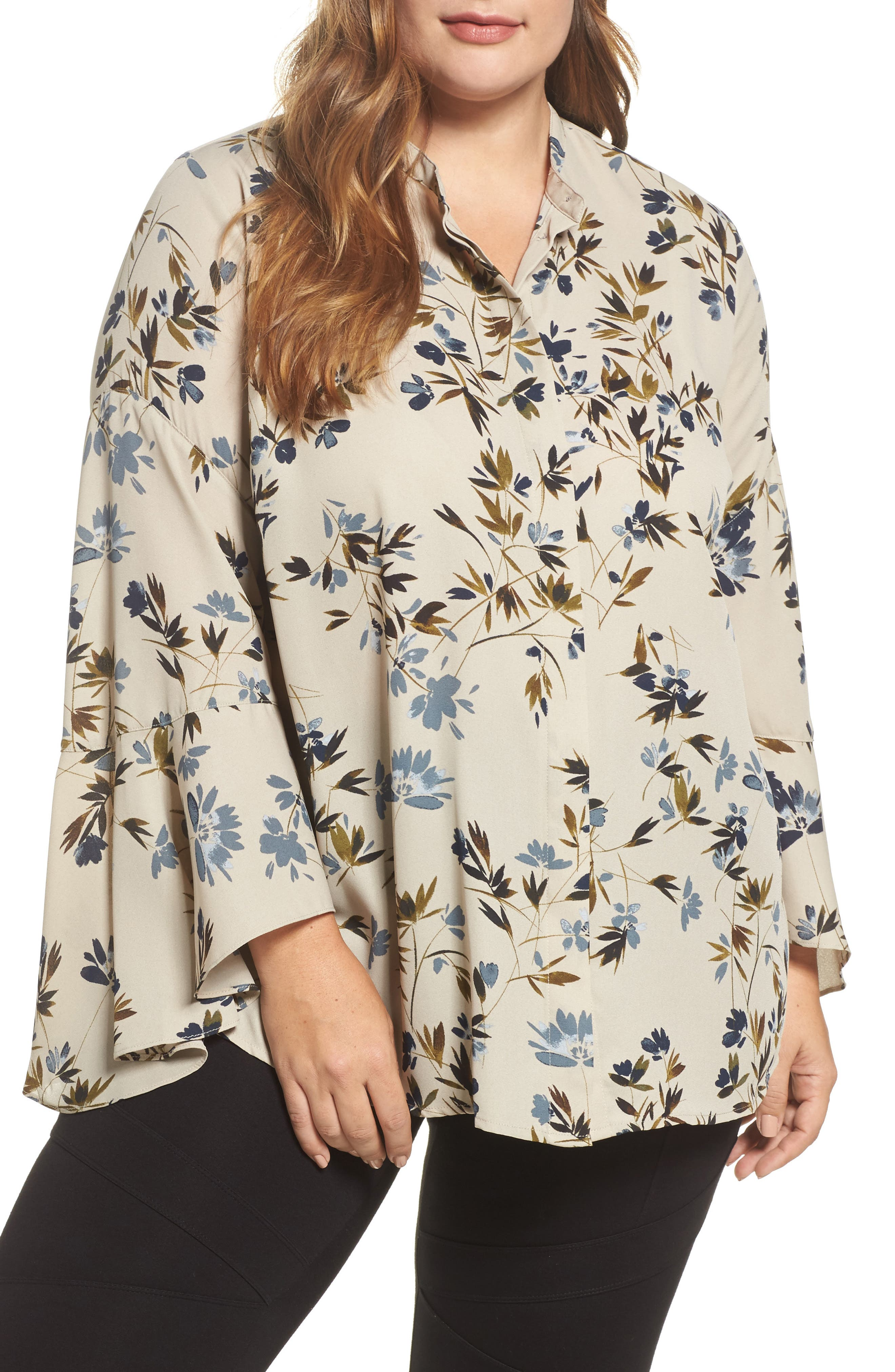 Alternate Image 1 Selected - Vince Camuto Timeless Bouquet Bell Sleeve Blouse (Plus Size)