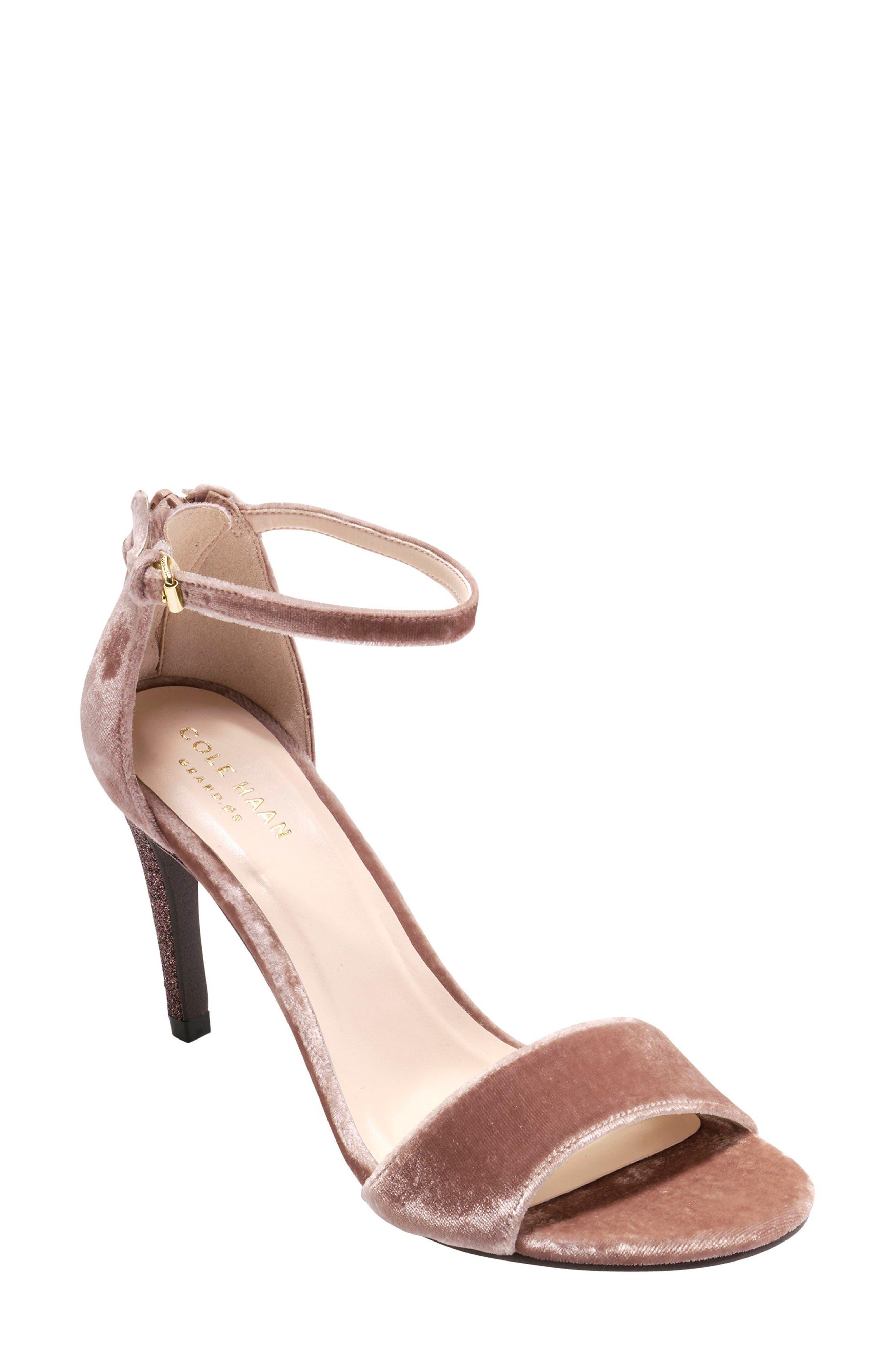 Clara Grand Ankle Strap Sandal,                         Main,                         color, Nude Velvet