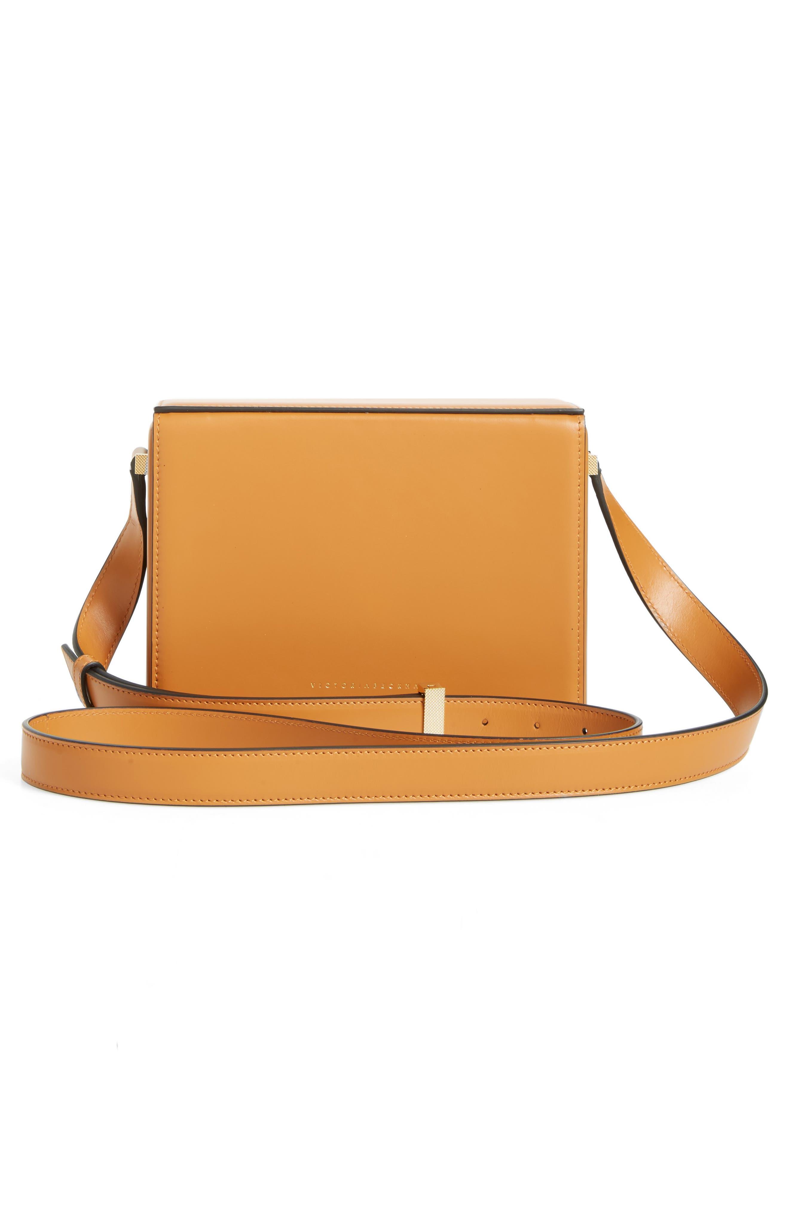 Vanity Calfskin Leather Box Bag,                             Alternate thumbnail 3, color,                             Mustard