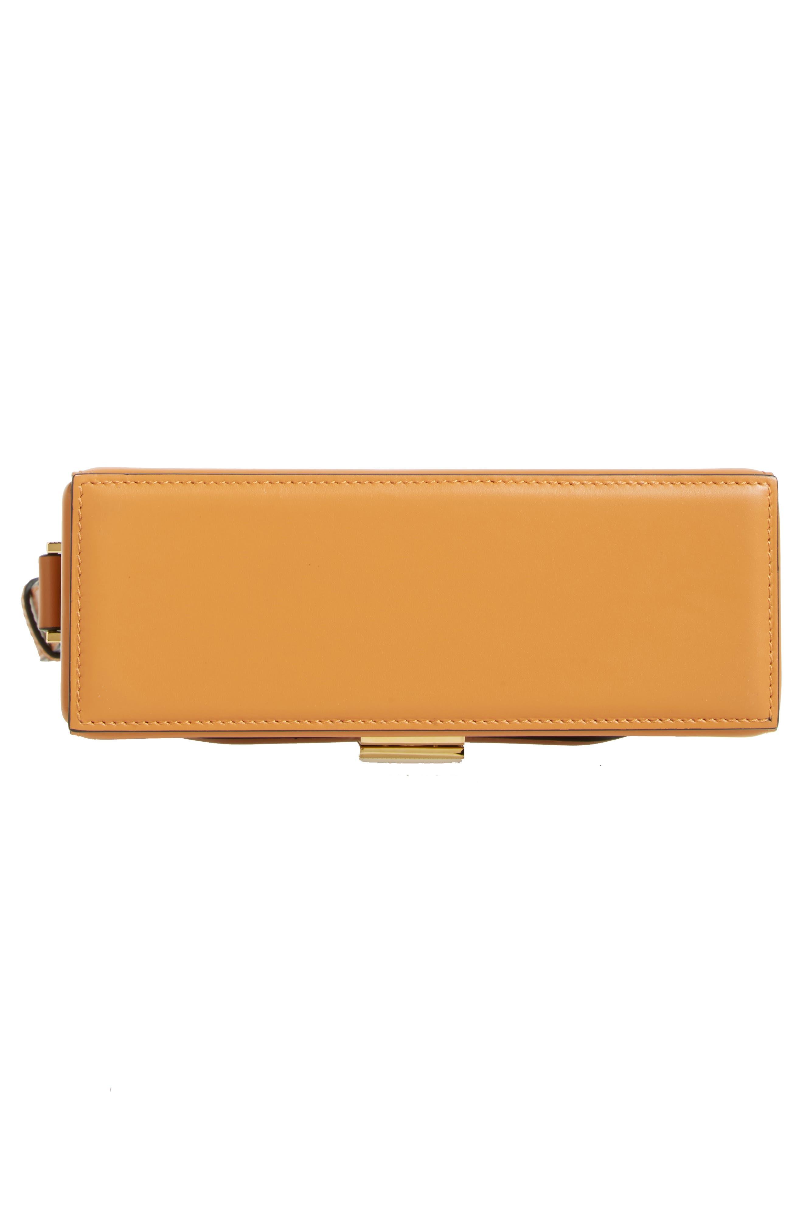 Vanity Calfskin Leather Box Bag,                             Alternate thumbnail 6, color,                             Mustard