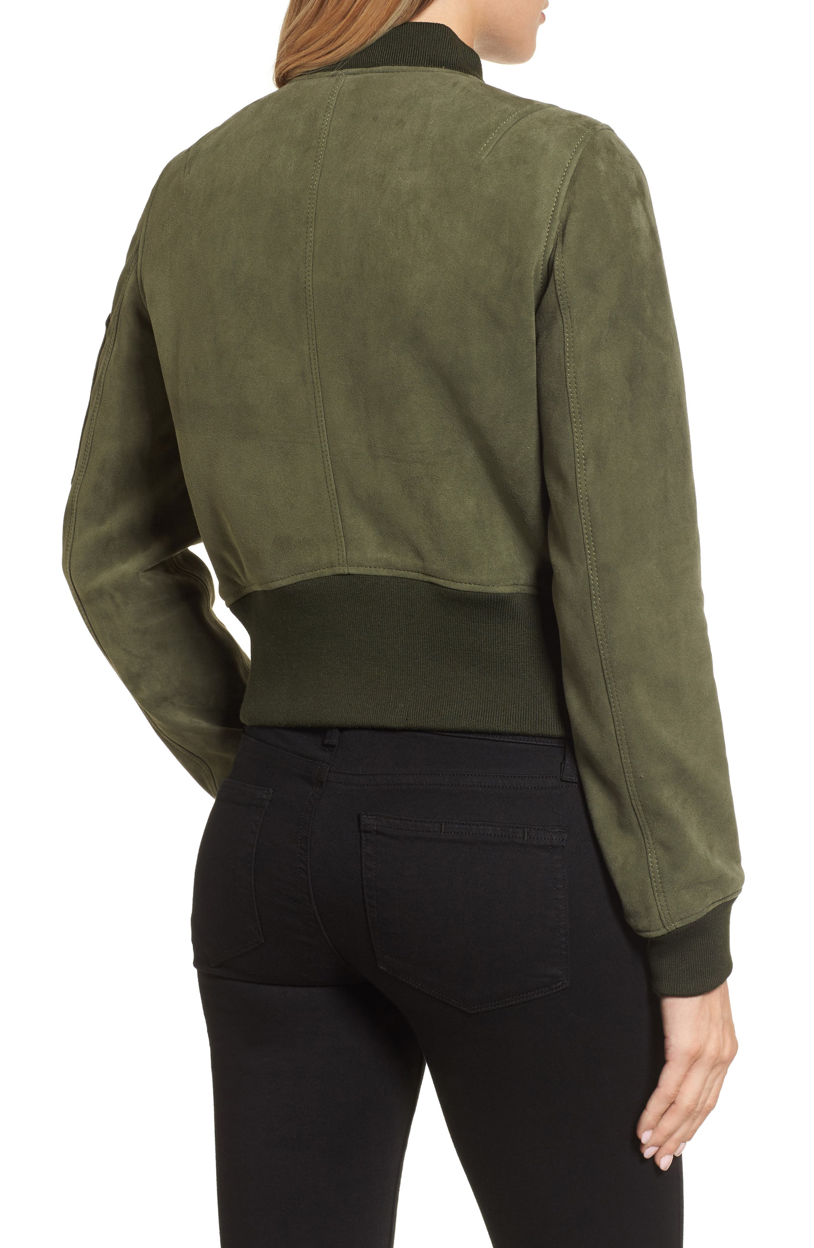 Crop Suede Bomber Jacket,                             Alternate thumbnail 2, color,                             Green Grove