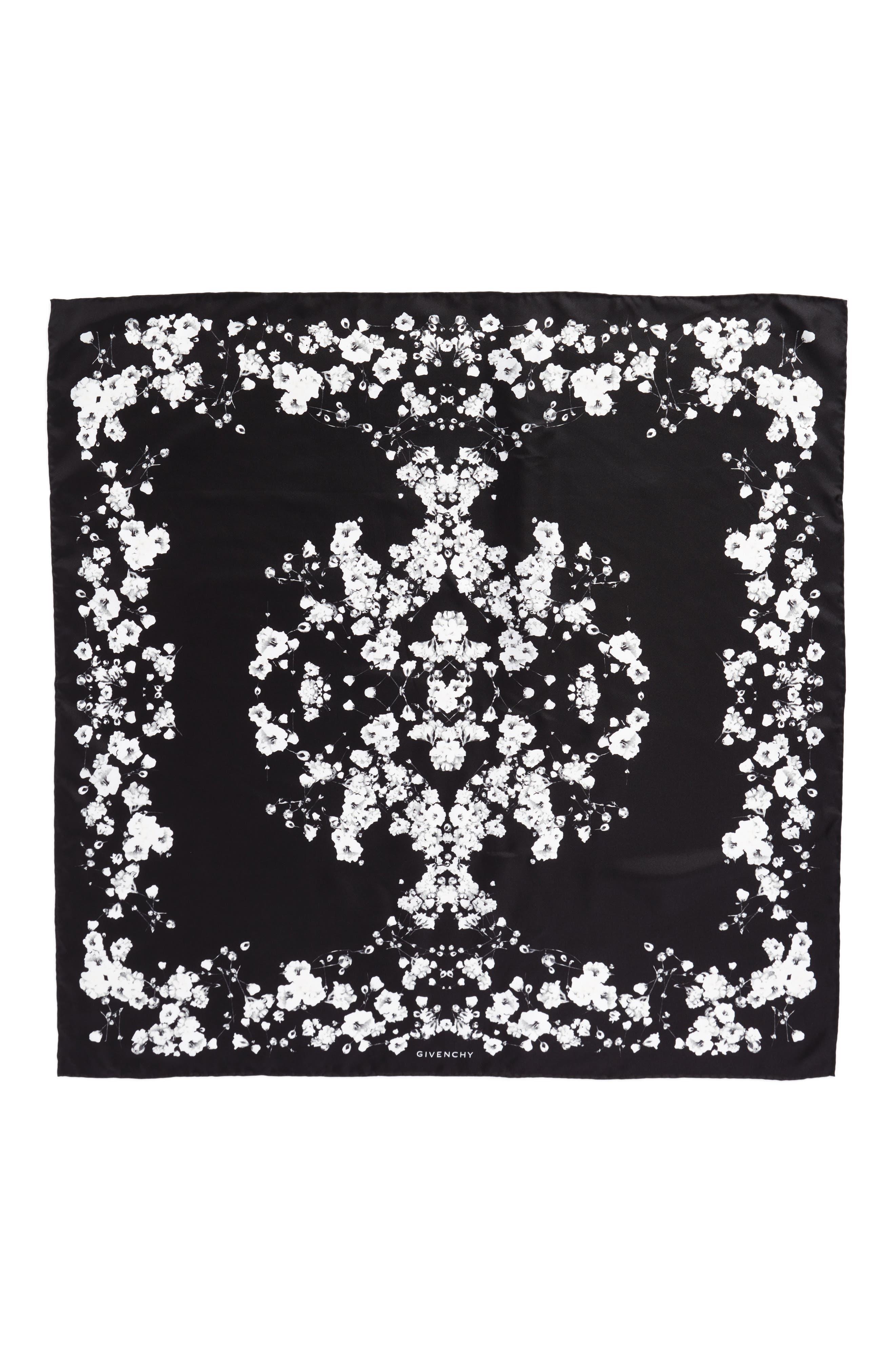 Baby's Breath Silk Twill Scarf,                         Main,                         color, Black/White