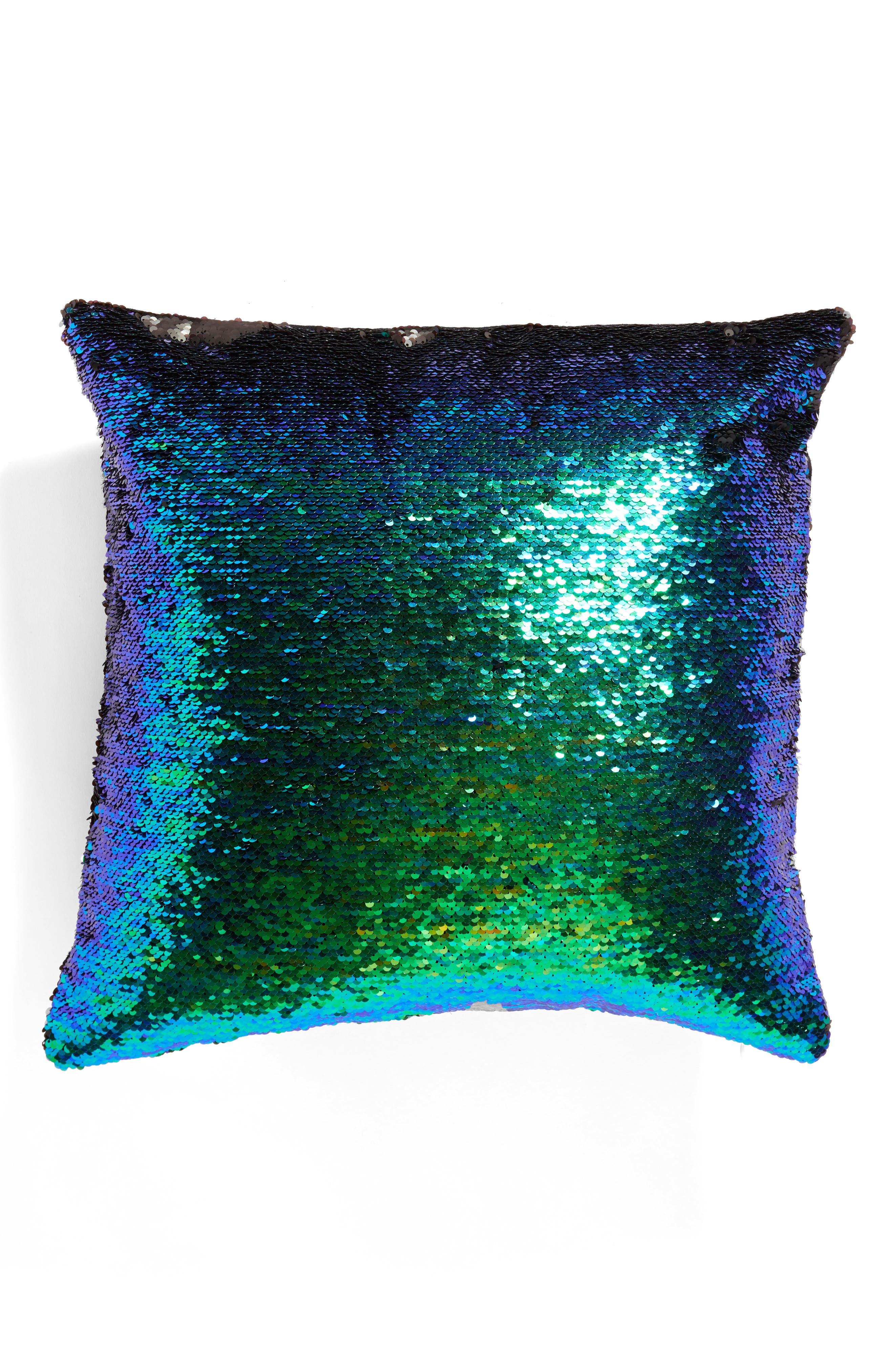 Sequin Pillow,                         Main,                         color, Black
