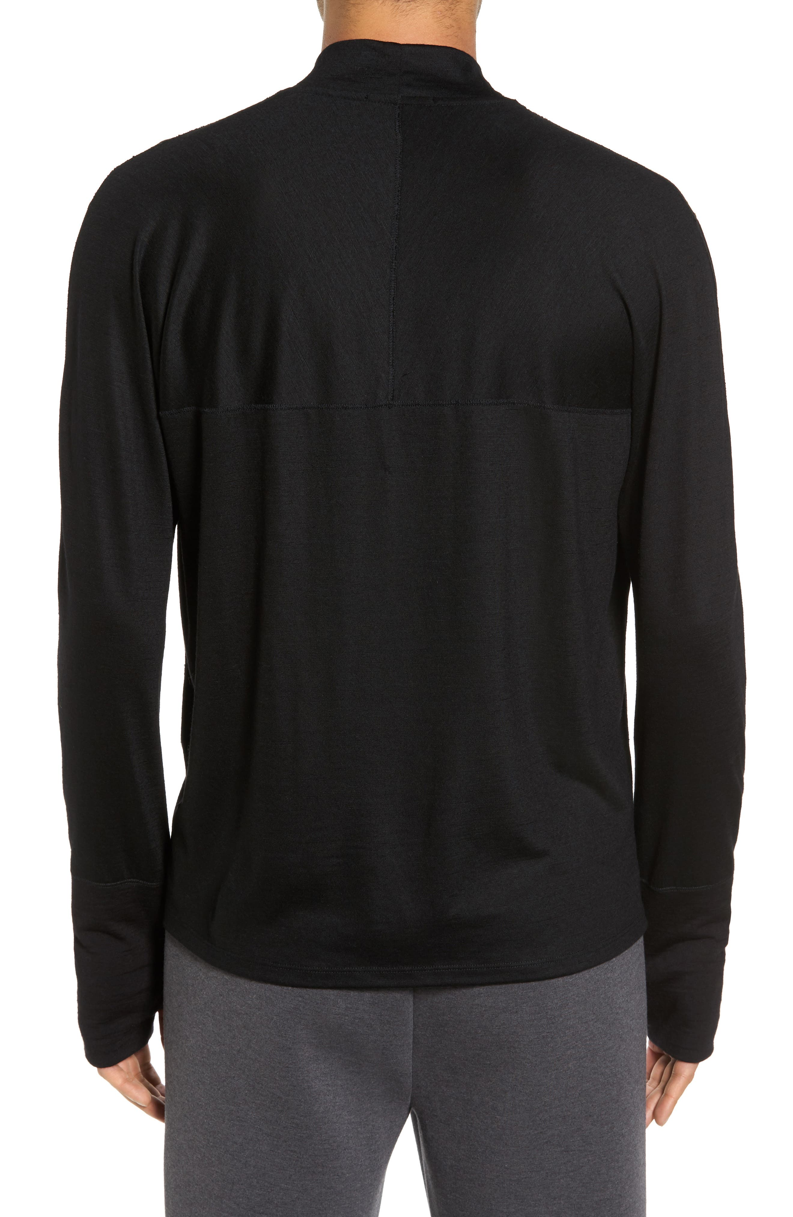 Mock Neck Thumbhole Wool T-Shirt,                             Alternate thumbnail 2, color,                             Black