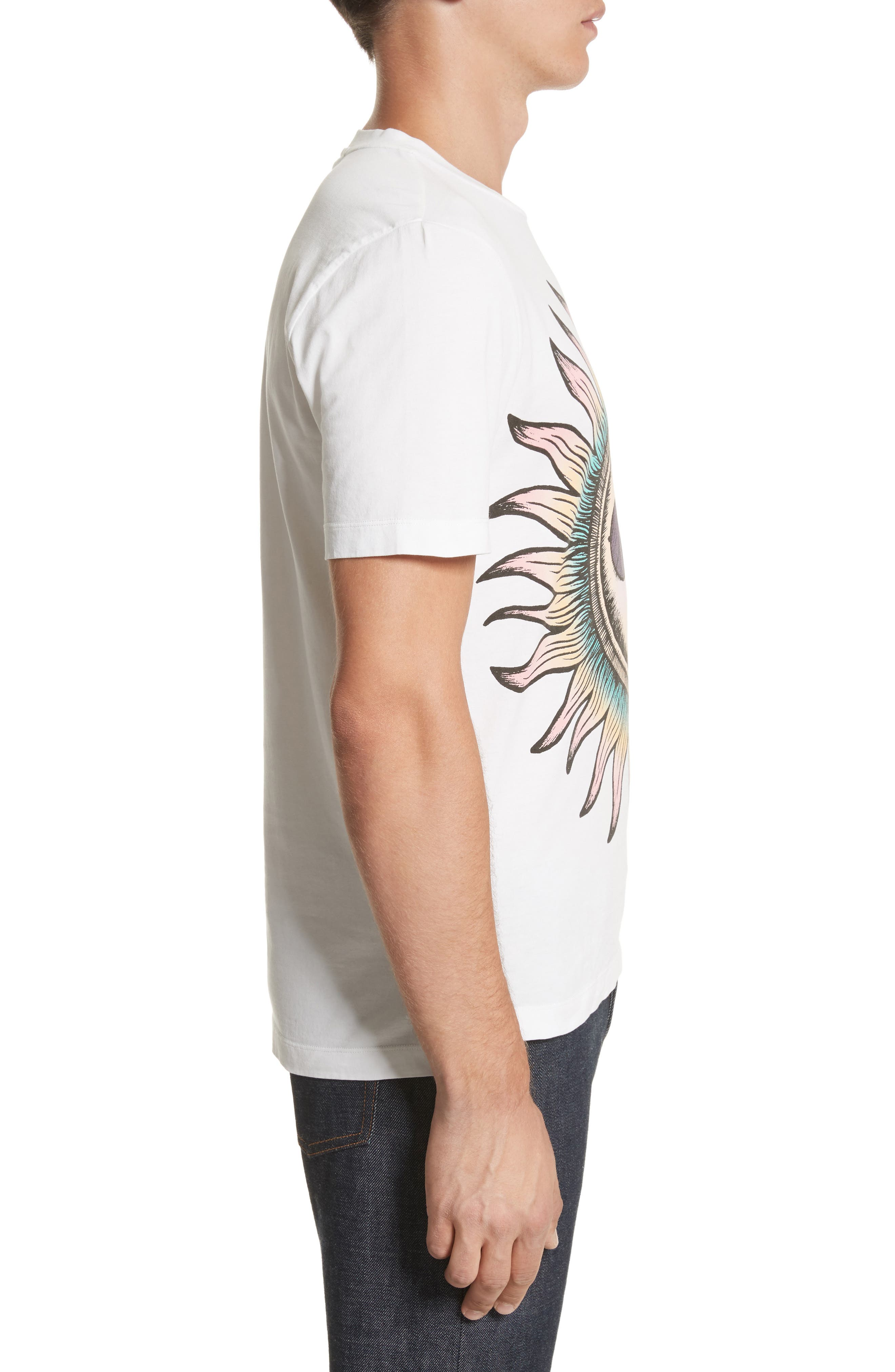 Psychedelic Sun Graphic T-Shirt,                             Alternate thumbnail 3, color,                             White