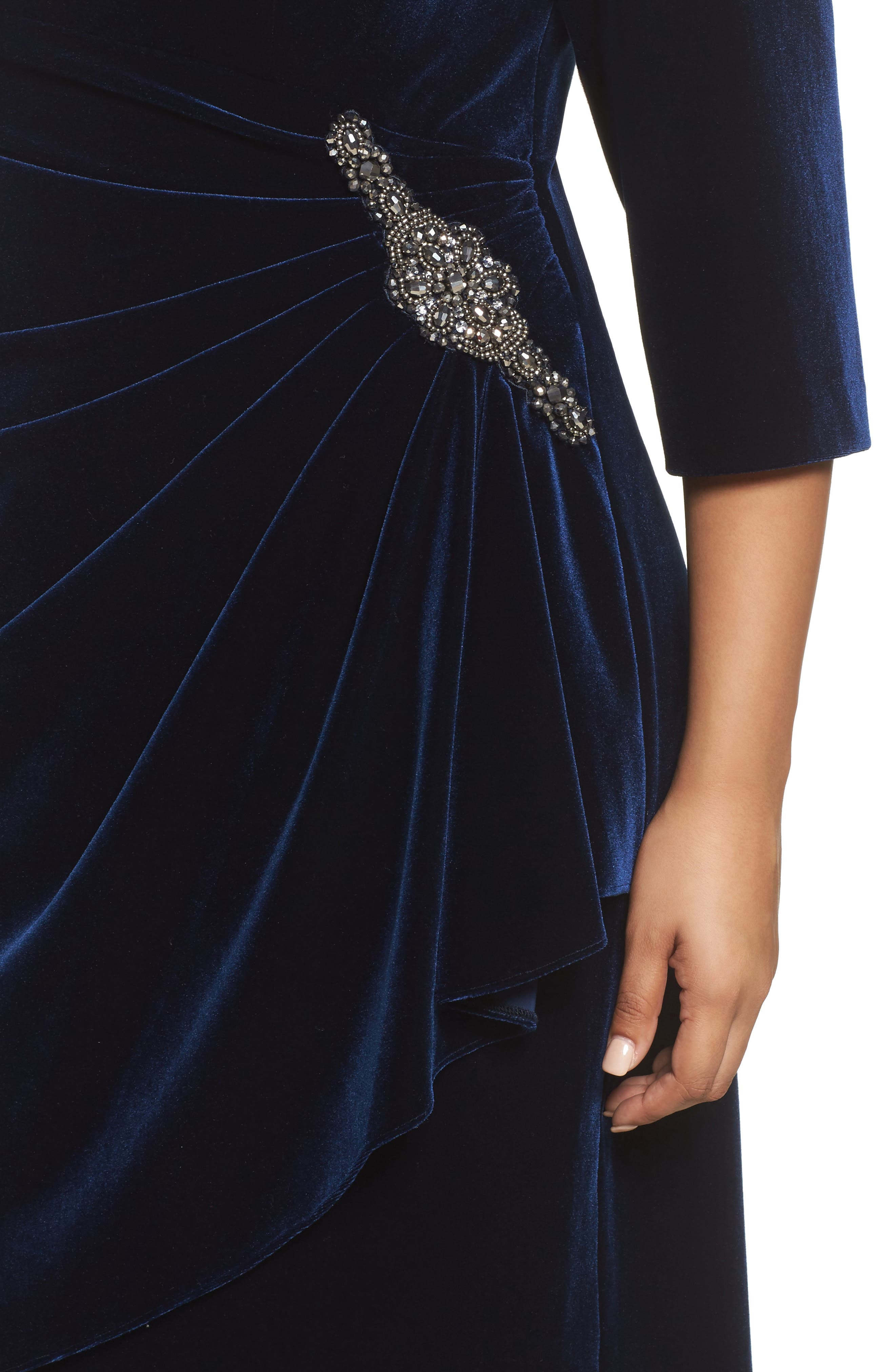 Alternate Image 4  - Alex Evenings Embellished Faux Wrap Velvet Dress (Plus Size)