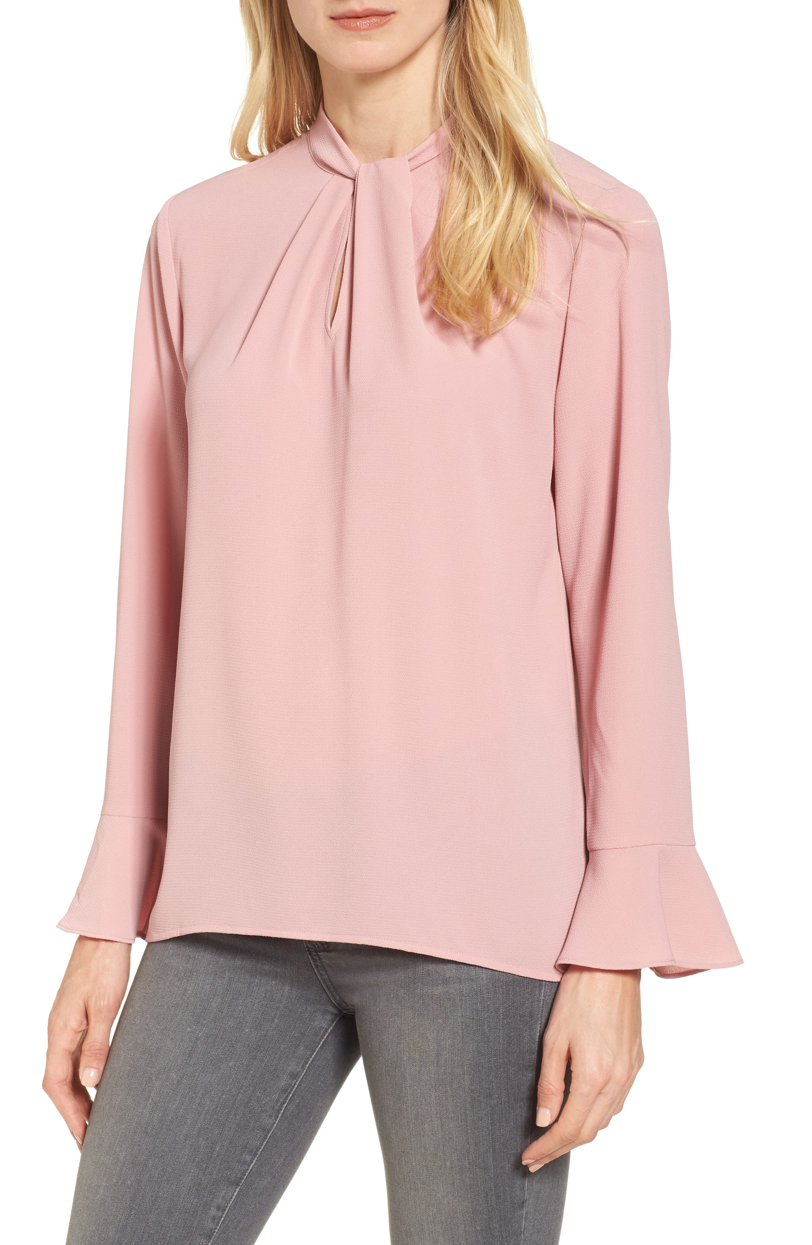 Alternate Image 1 Selected - Chaus Twist Neck Flutter Sleeve Blouse