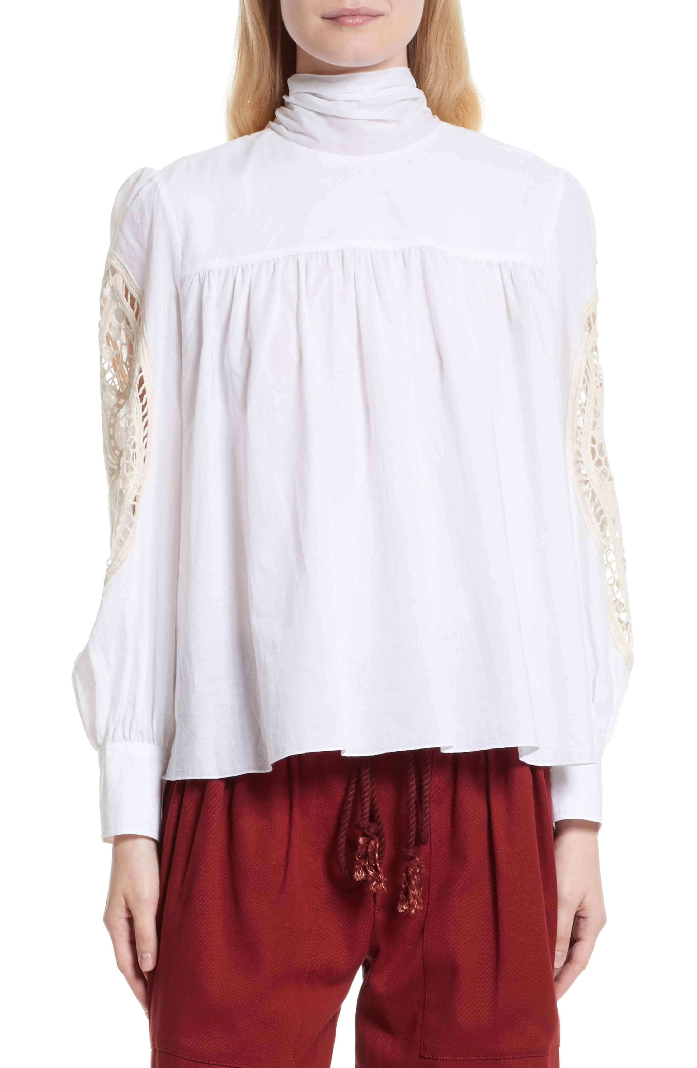 See by Chloé Crochet Panel Balloon Sleeve Blouse