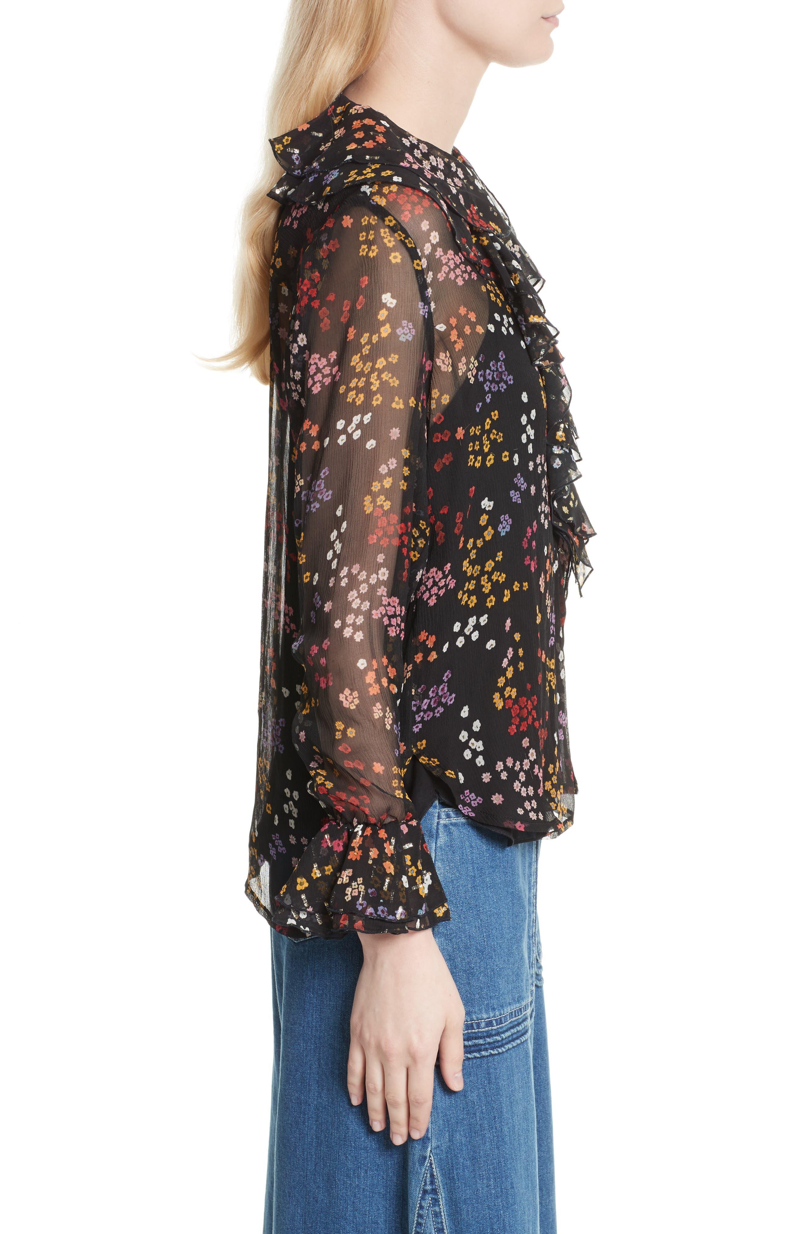 Floral Silk Blouse,                             Alternate thumbnail 3, color,                             Multicolor Black 1