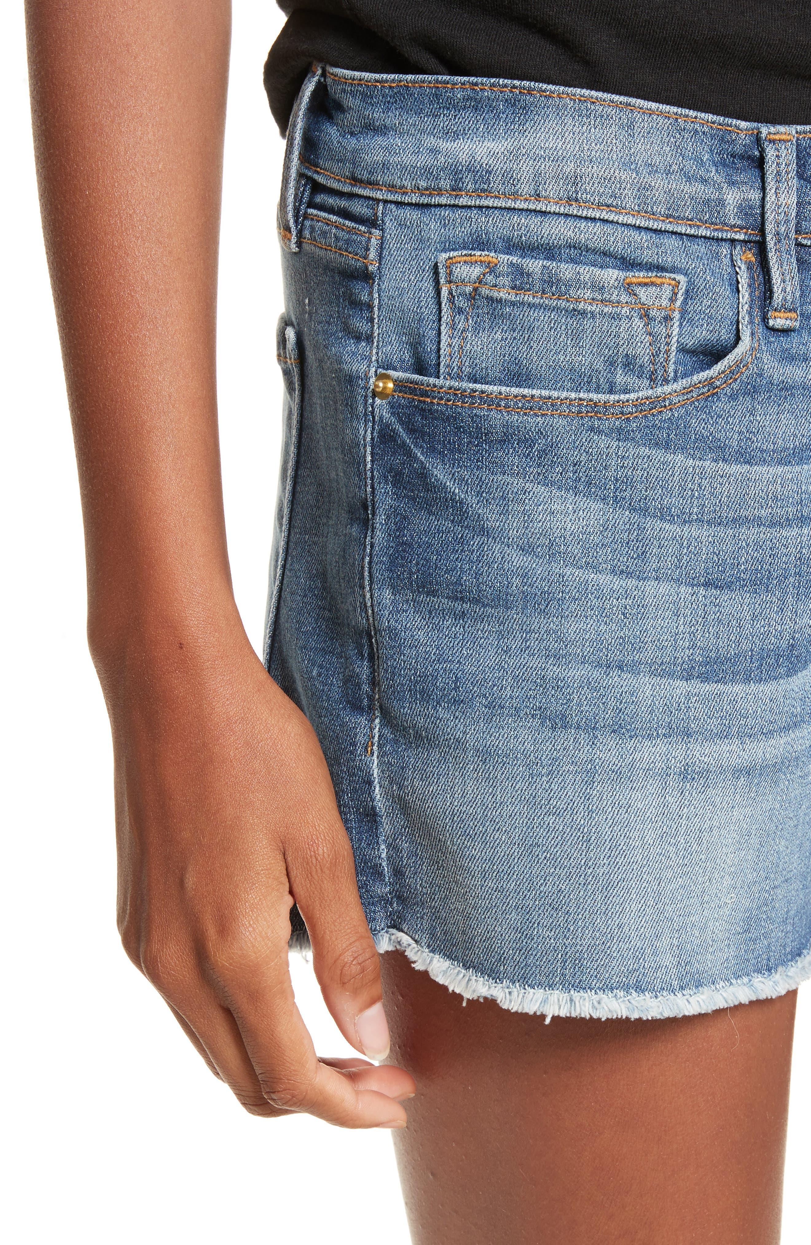 Le Cutoff Denim Shorts,                             Alternate thumbnail 4, color,                             Aldred
