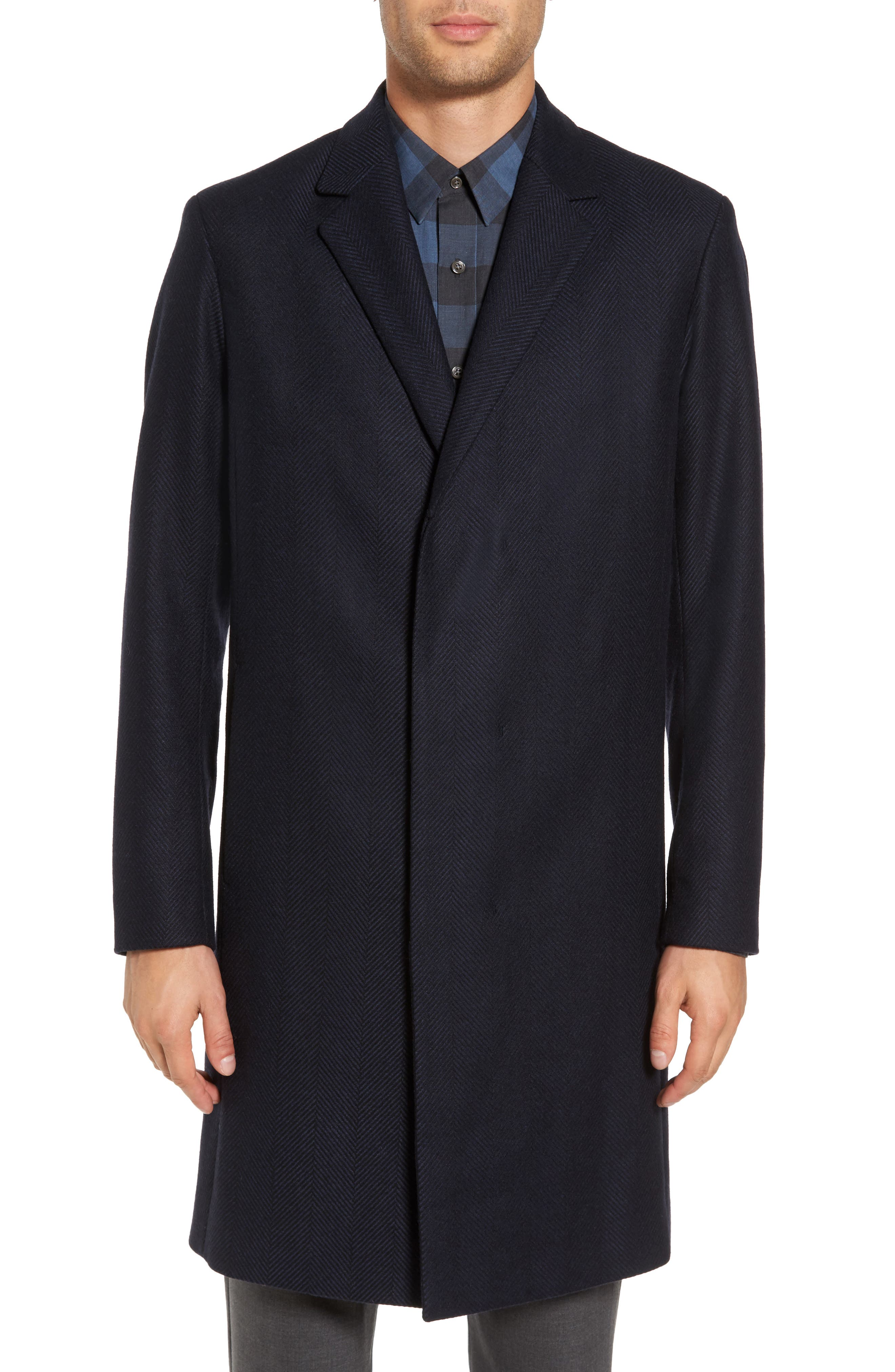 Bower Herringbone Wool Blend Topcoat,                             Alternate thumbnail 4, color,                             Liberty Multi